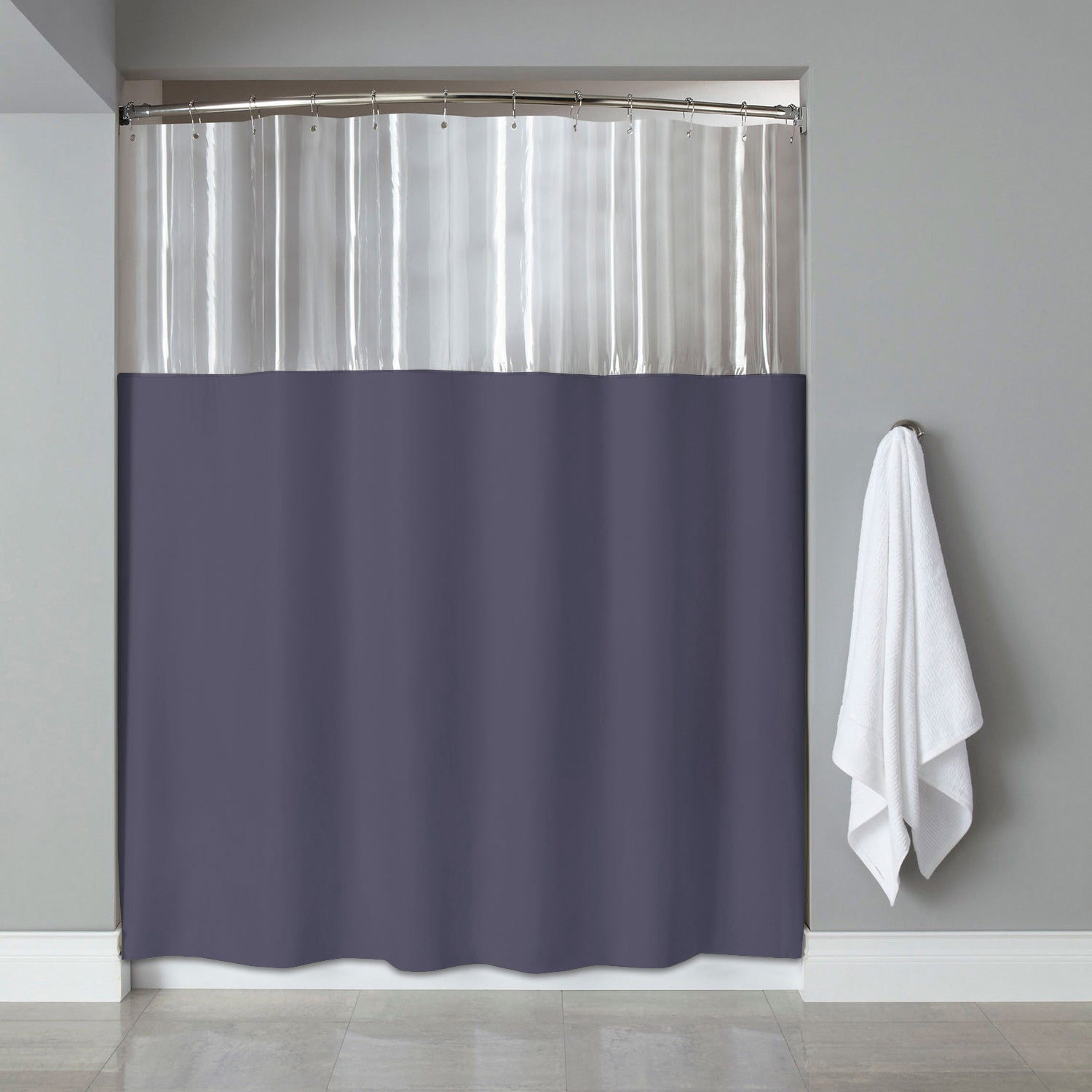 Shop 72 Inch Antibacterial Mildew Resistant Clear Slate Shower Curtain