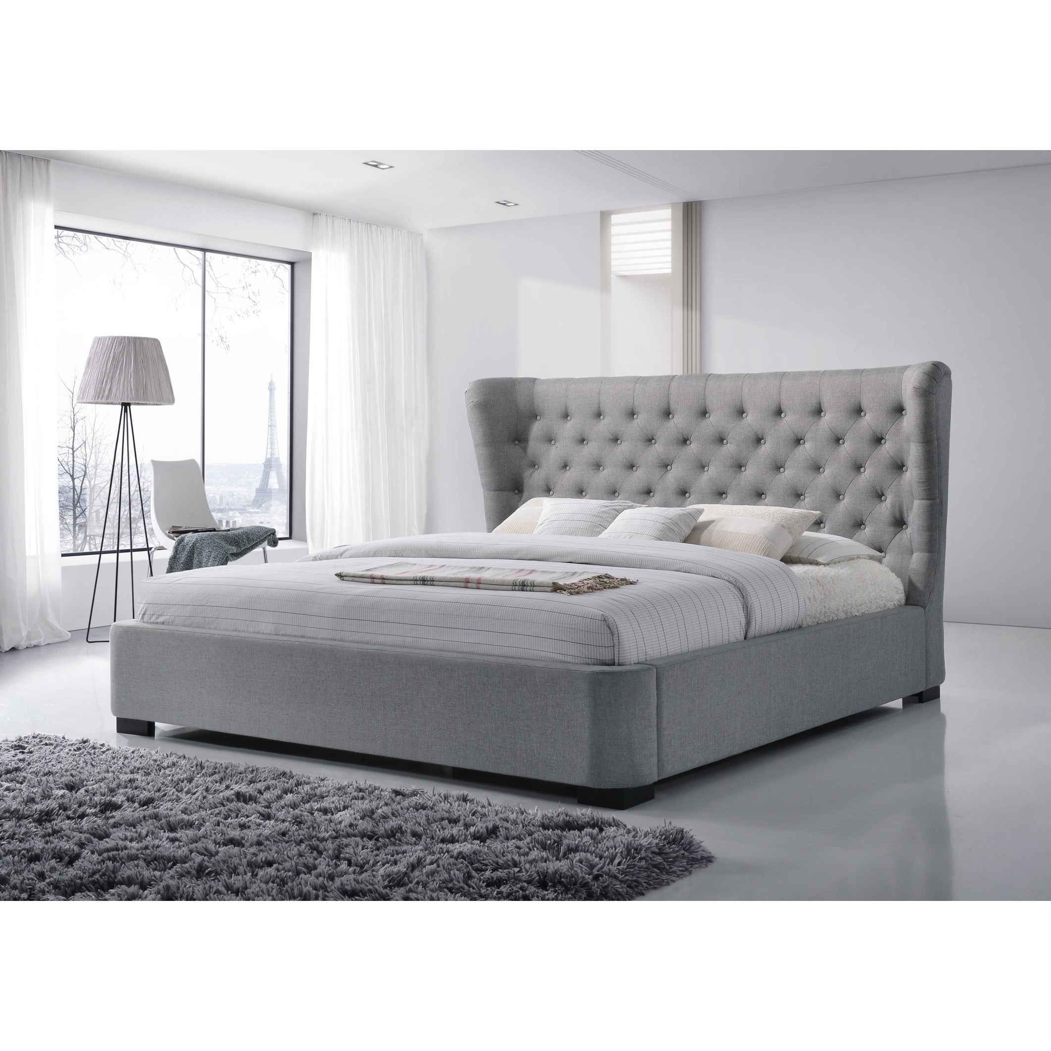 Luxeo Manchester King Size Tufted Wing Upholstered Grey Platform Bed Overstock 11489346