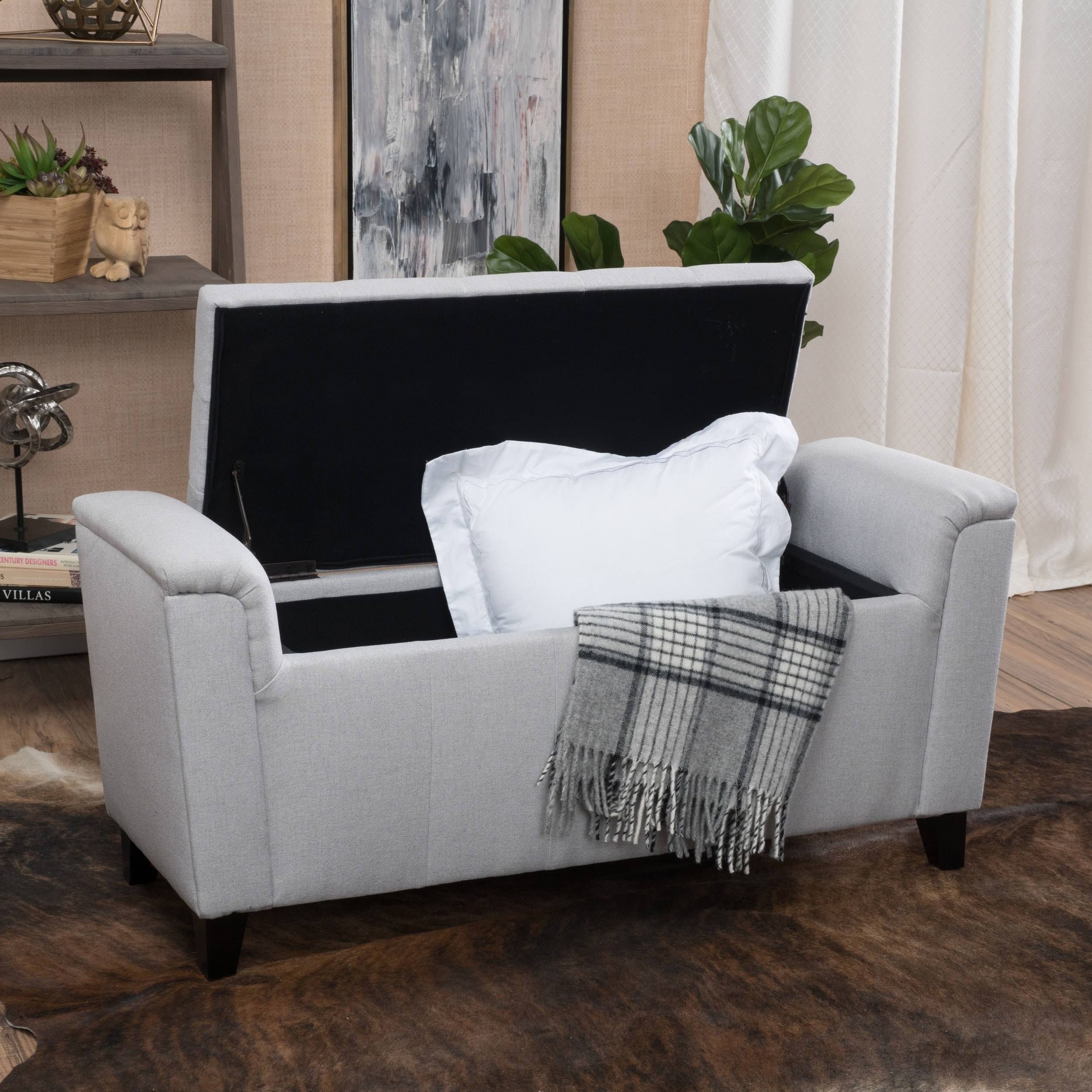 Shop Alden Tufted Fabric Armed Storage Ottoman Bench By Christopher Knight  Home   On Sale   Free Shipping Today   Overstock.com   11489412
