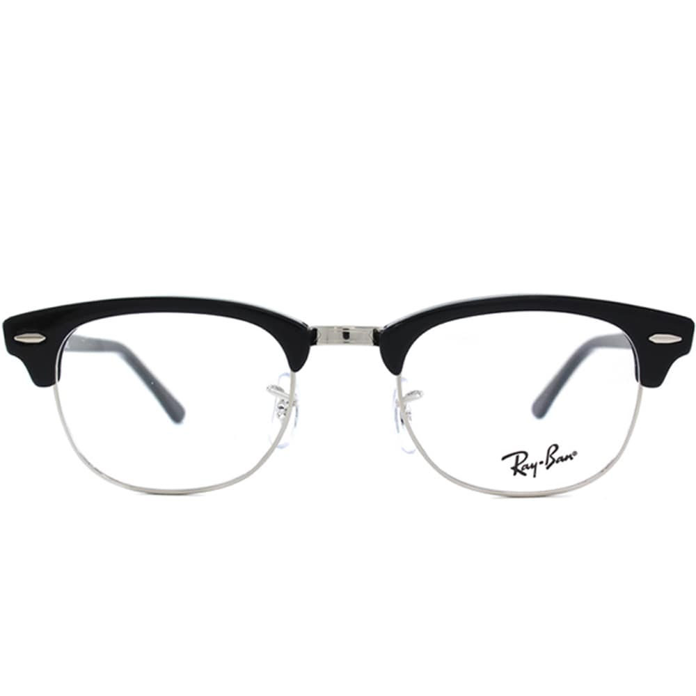 8b70be6b30 Shop Ray-Ban RX 5154 2000 Shiny Black And Silver Clubmaster Plastic 49mm  Eyeglasses - Free Shipping Today - Overstock - 11489596