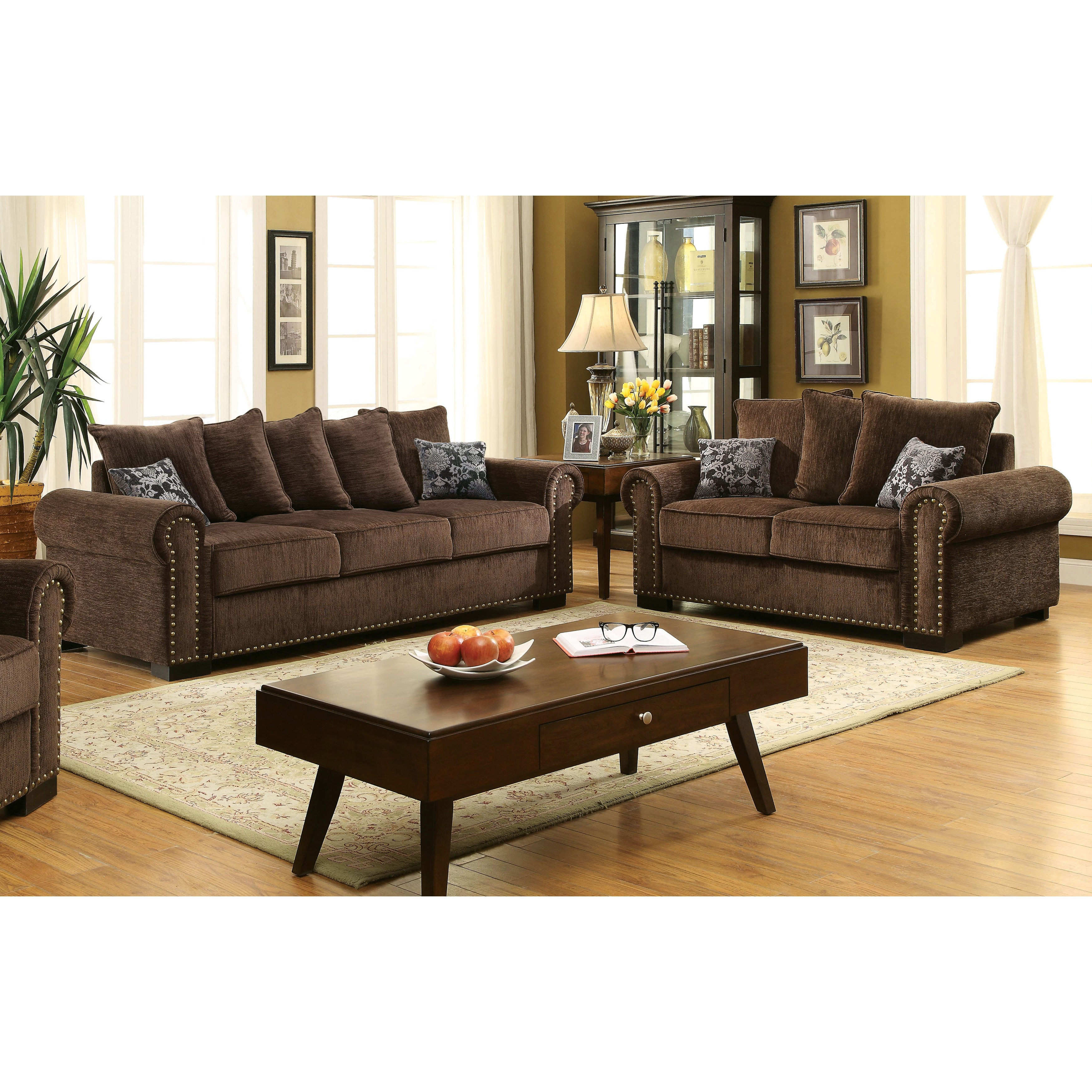 Superbe Shop Furniture Of America Pana Transitional 2 Piece Brown Chenille Sofa Set    On Sale   Free Shipping Today   Overstock.com   11489647