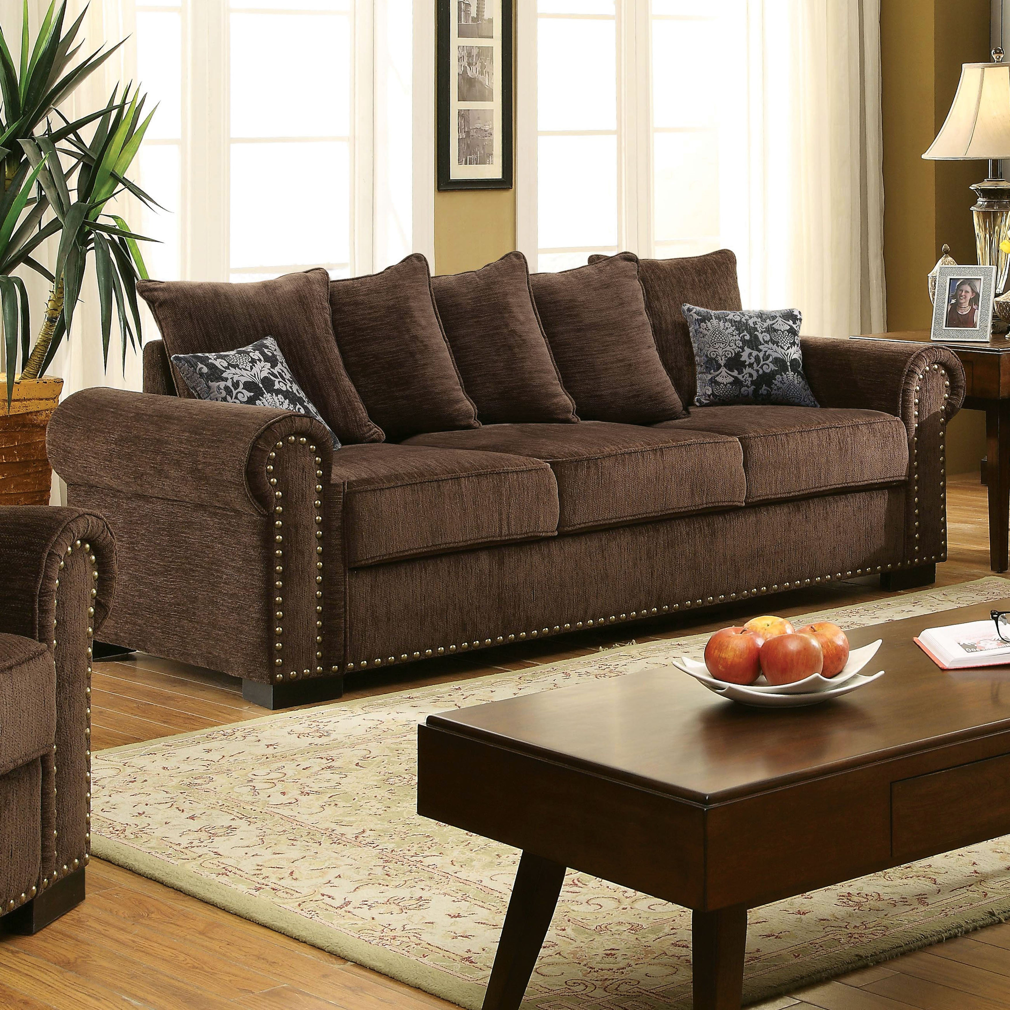 Furniture Of America Pana Transitional Brown Chenille Sofa Free Shipping Today 11489680