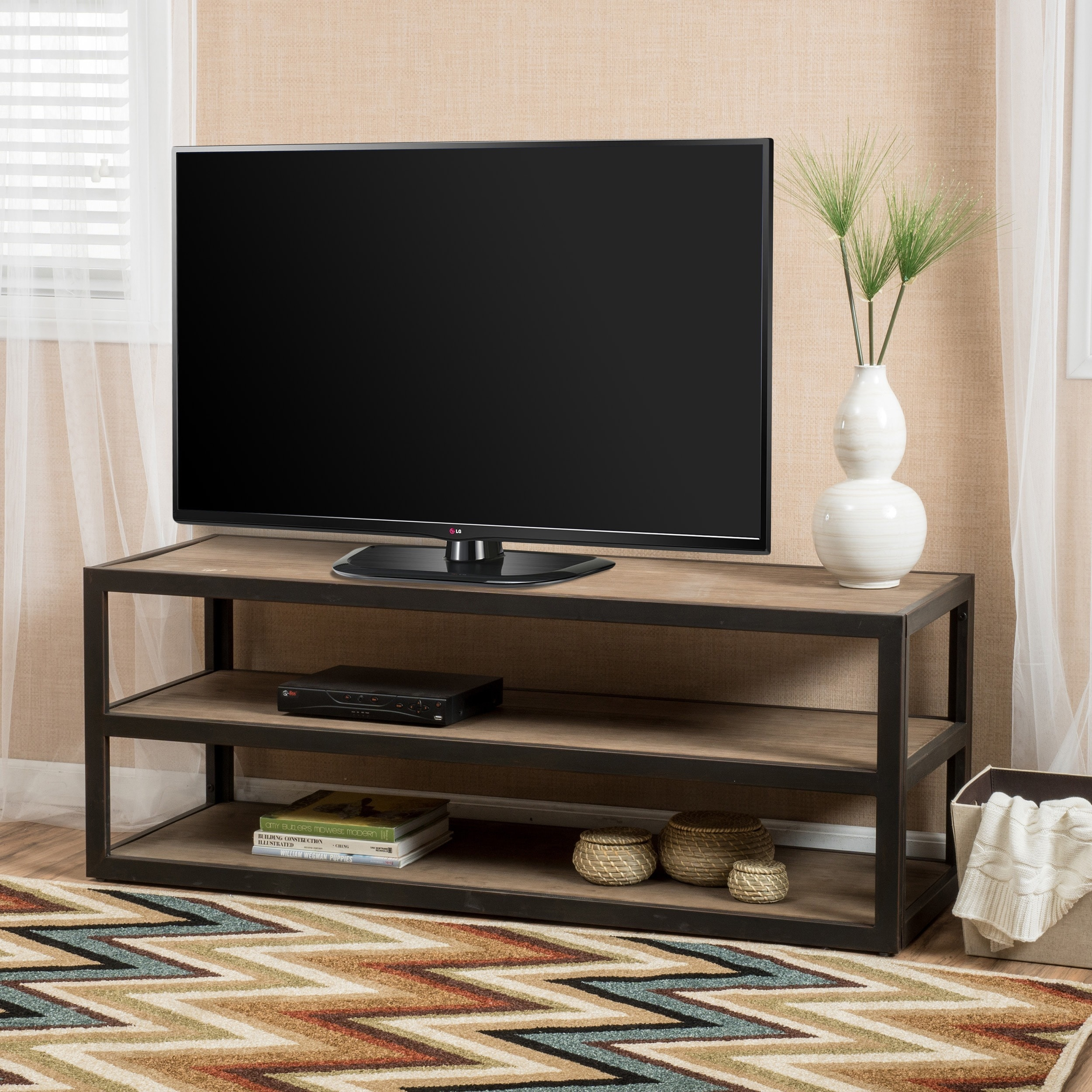 Shop perth 3 shelf industrial entertainment tv console stand with shelf by christopher knight home on sale free shipping today overstock com