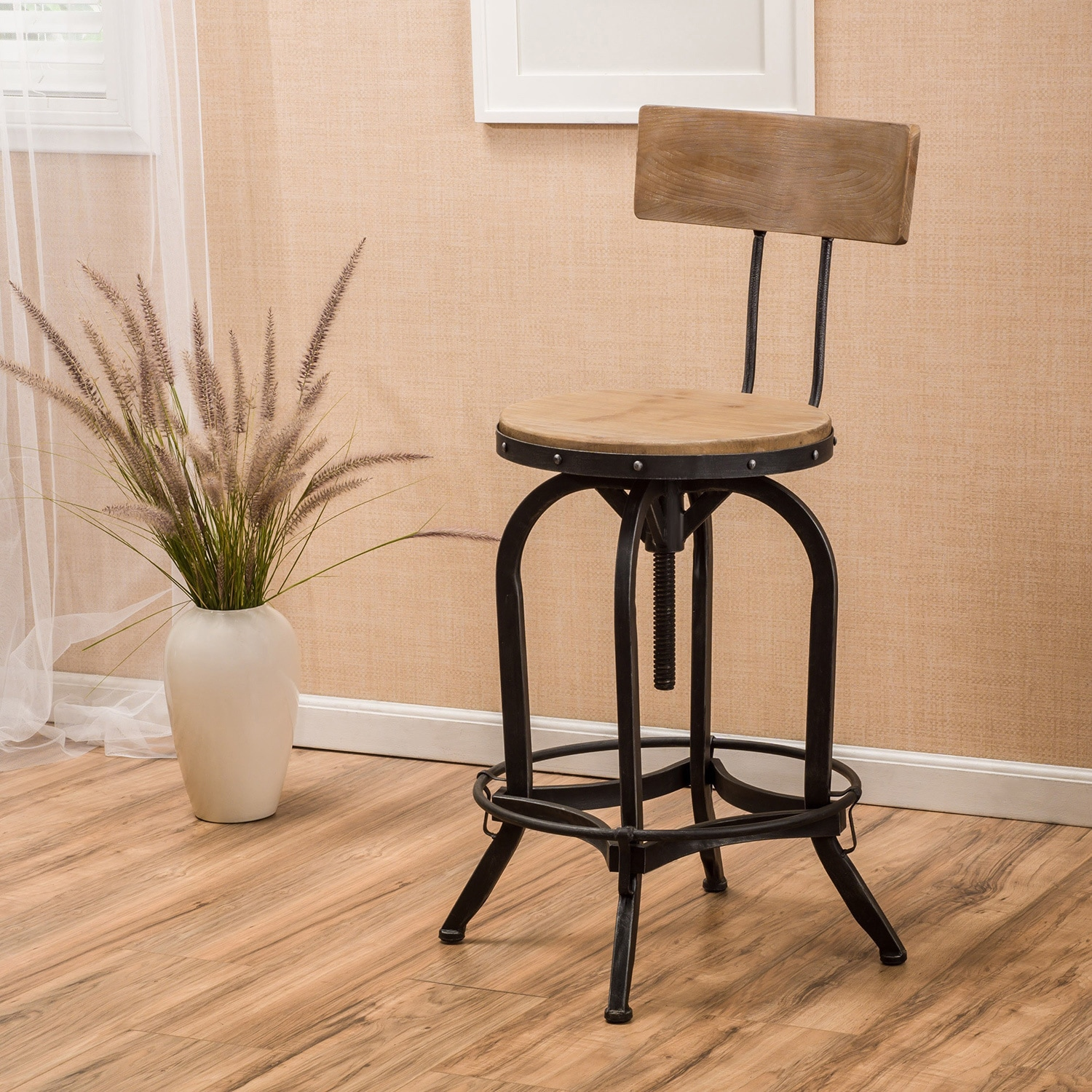 Shop Stirling Adjustable Wood Backed Bar Stool By Christopher Knight Home    On Sale   Free Shipping Today   Overstock.com   11490290