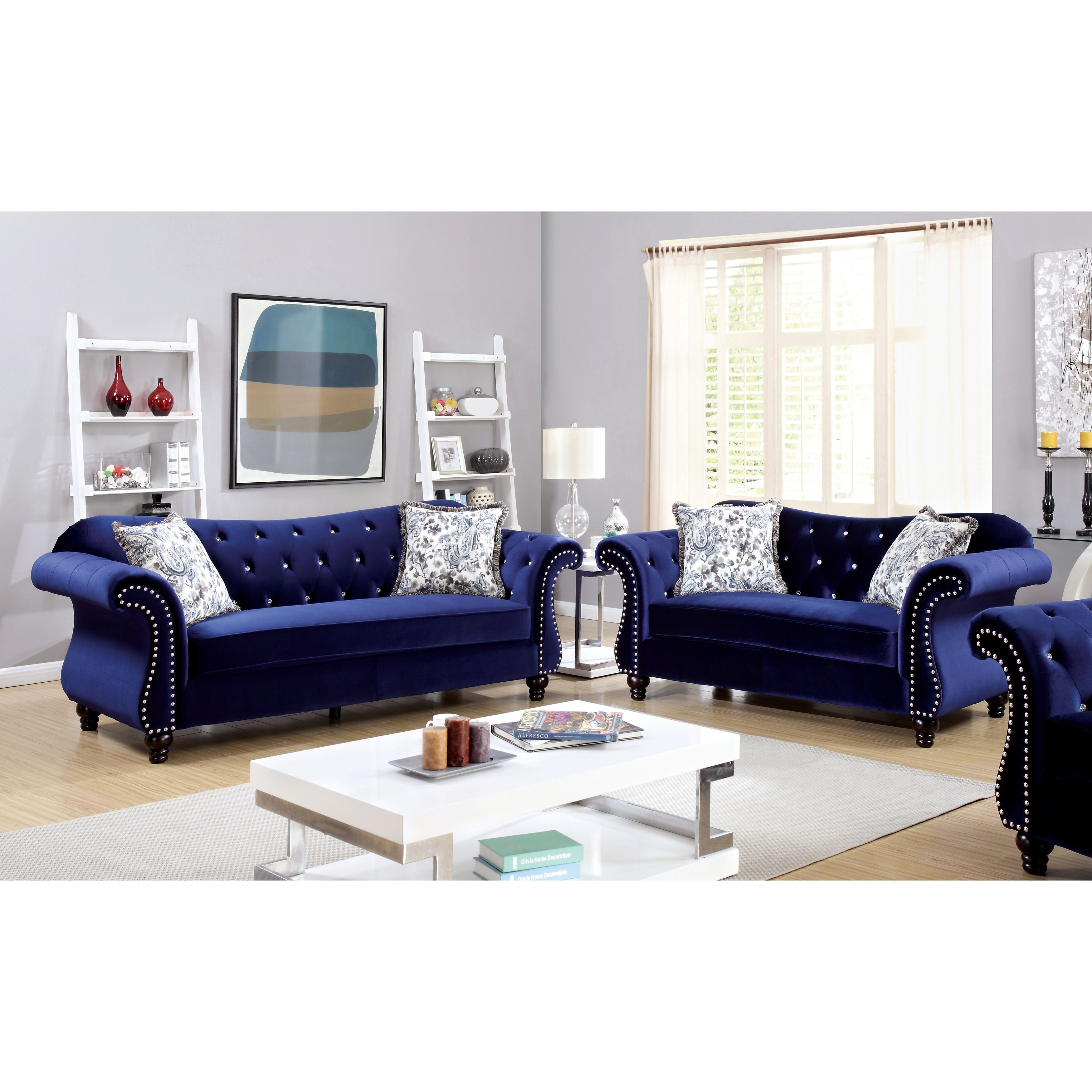 Furniture of America Dessie Traditional 3-piece Tufted Sofa Set ...