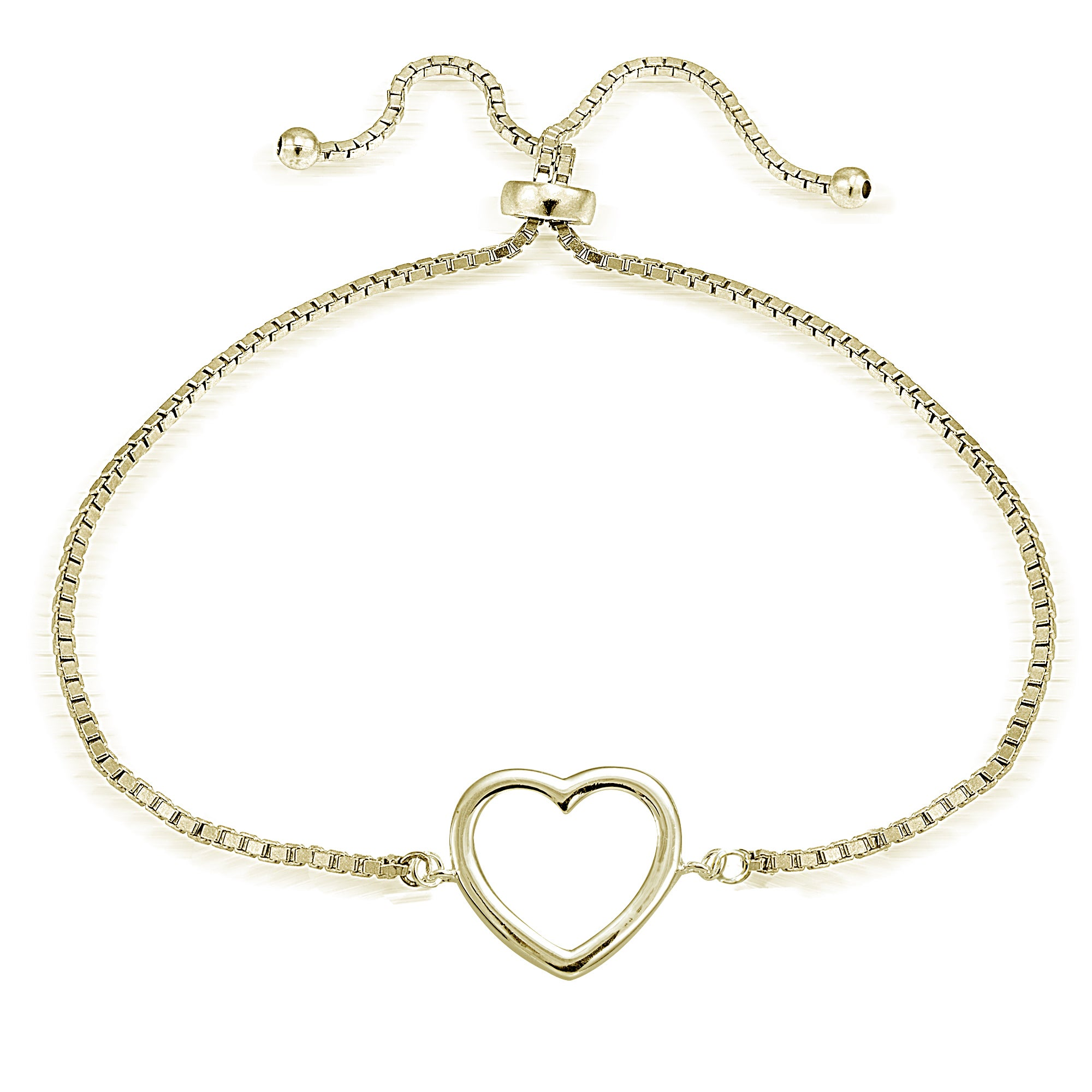 Mondevio Silver Open Heart Adjule Slider Bracelet On Free Shipping Orders Over 45 11504985