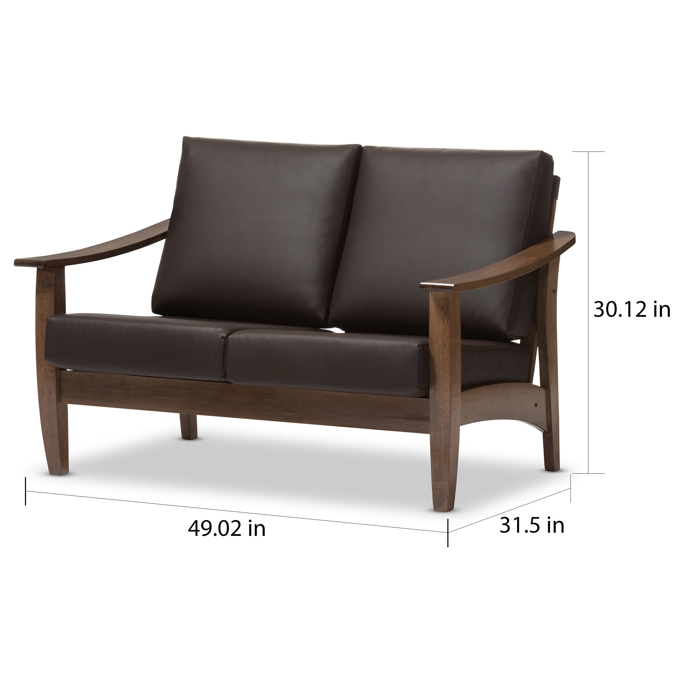 Baxton Studio Phanessa Mid Century Modern Dark Brown Faux Leather Loveseat    Free Shipping Today   Overstock.com   18456758
