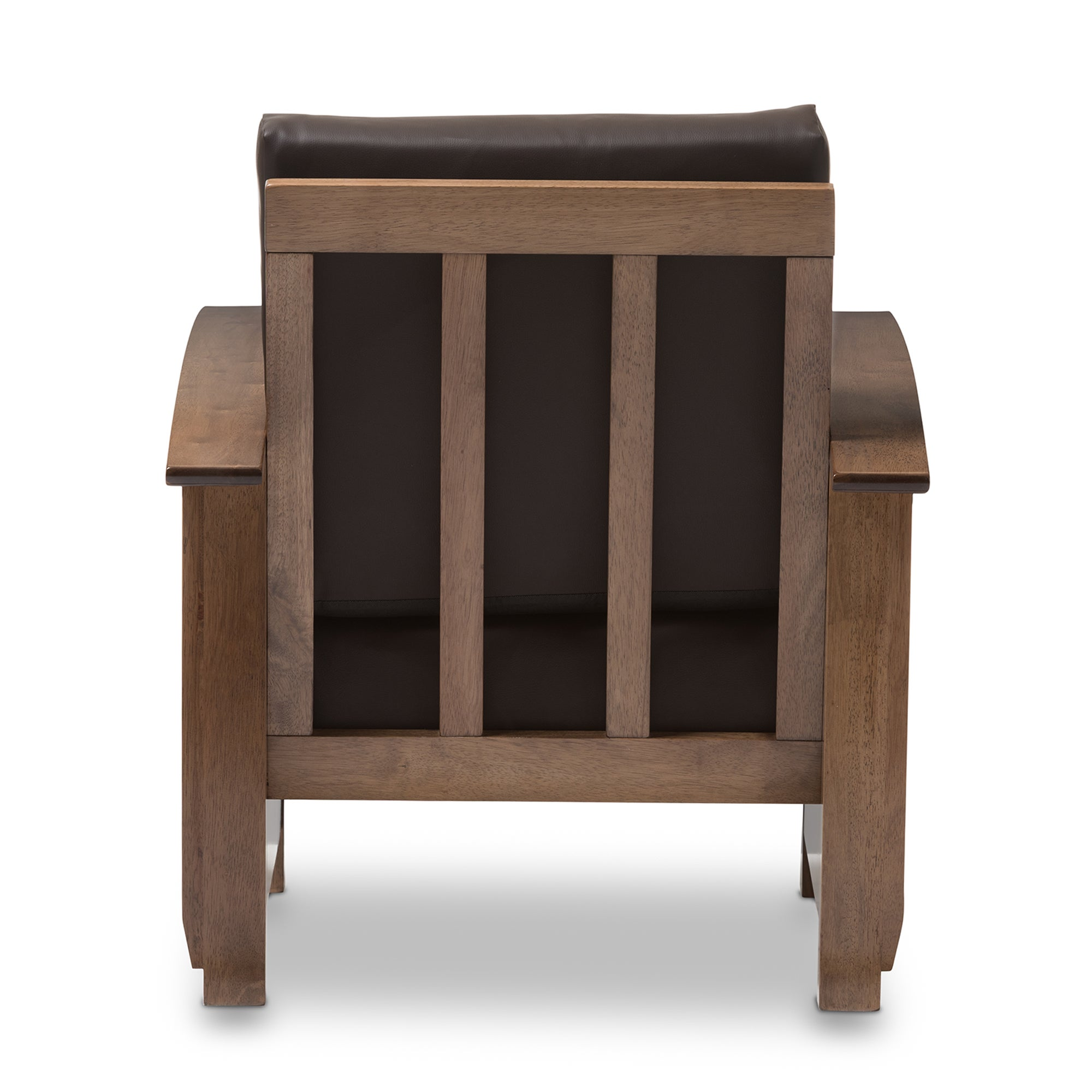Shop Baxton Studio Callidora Mission Dark Brown Faux Leather Accent Chair    Free Shipping Today   Overstock.com   11510061