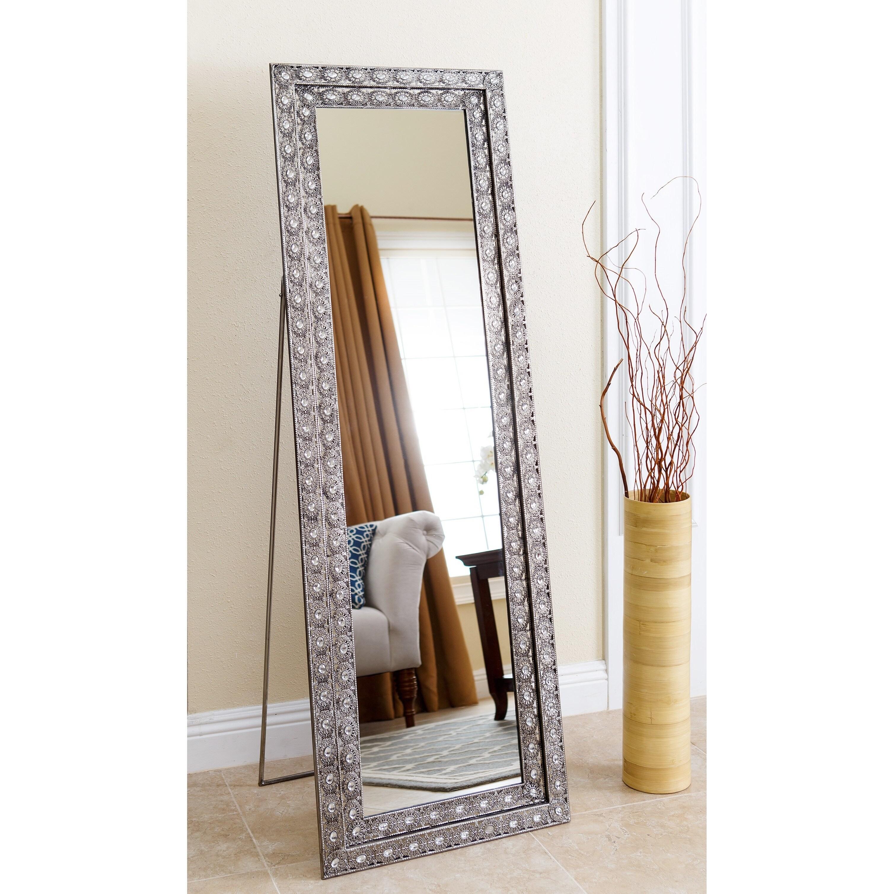 Shop Abbyson Melania Floor Mirror - Silver - Free Shipping Today ...