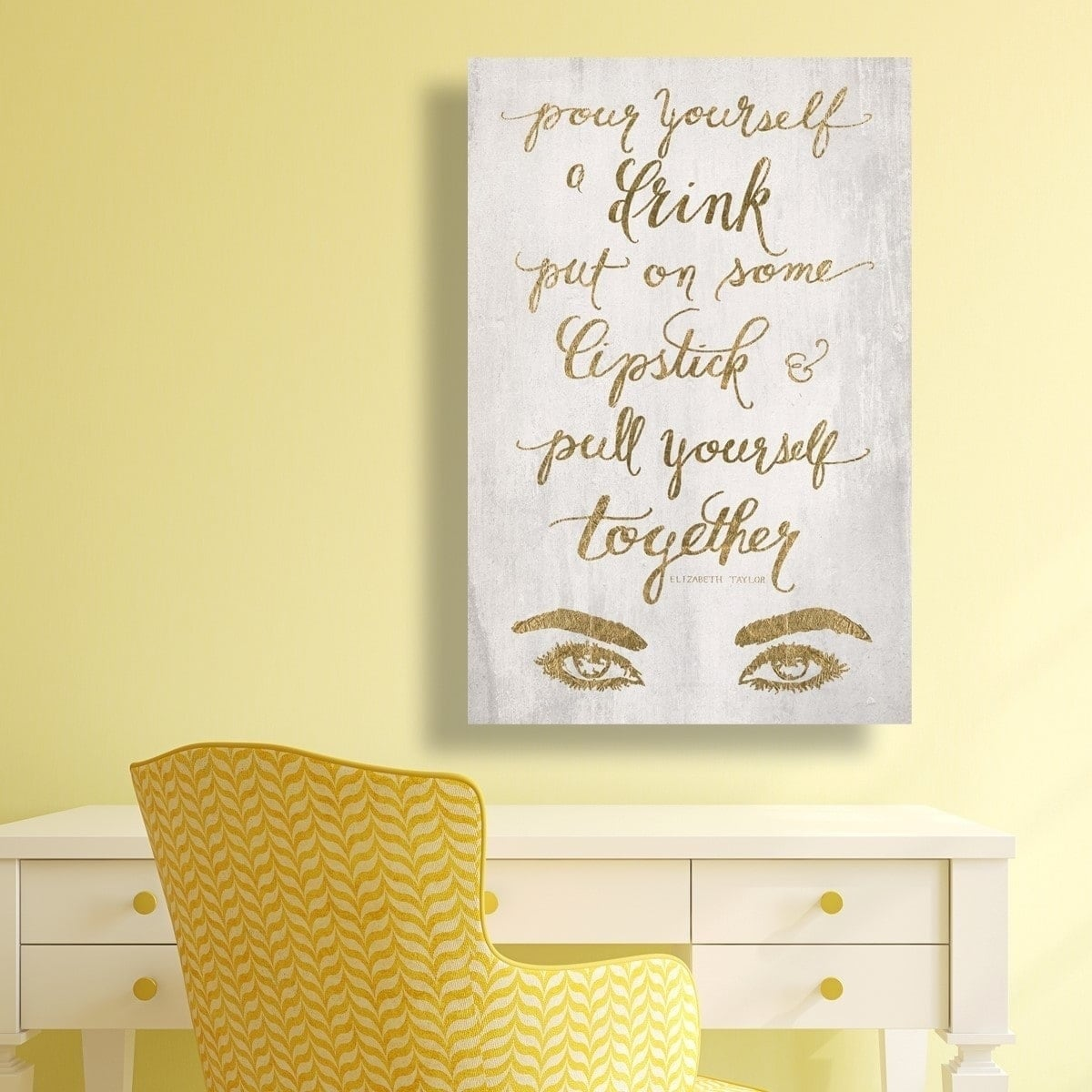 Shop Oliver Gal \'Put On Some Lipstick GOLD\' Typography Wall Art ...