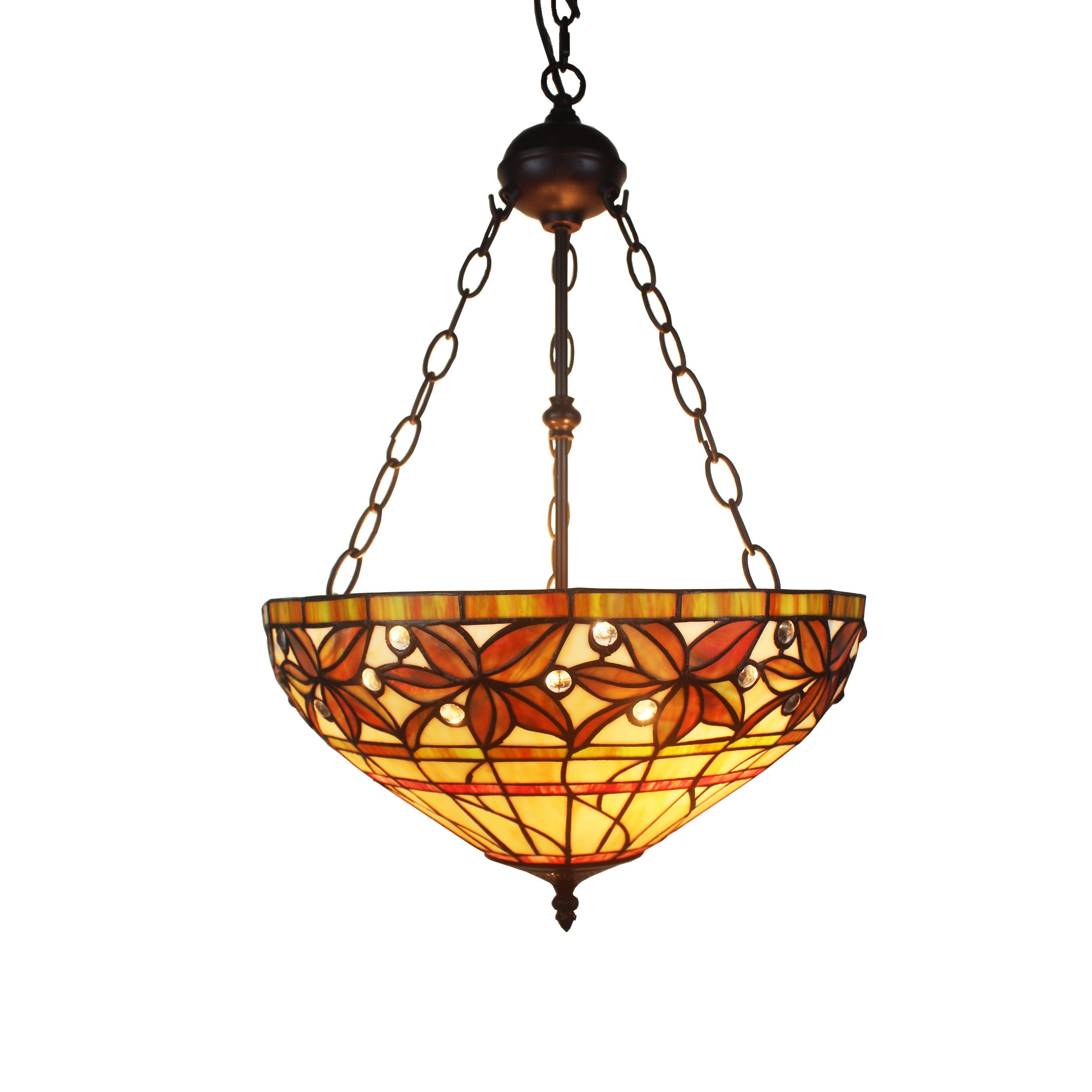 Shop Aiza 2-light Multicolor 16-inch Leafy Tiffany-style Ceiling ...