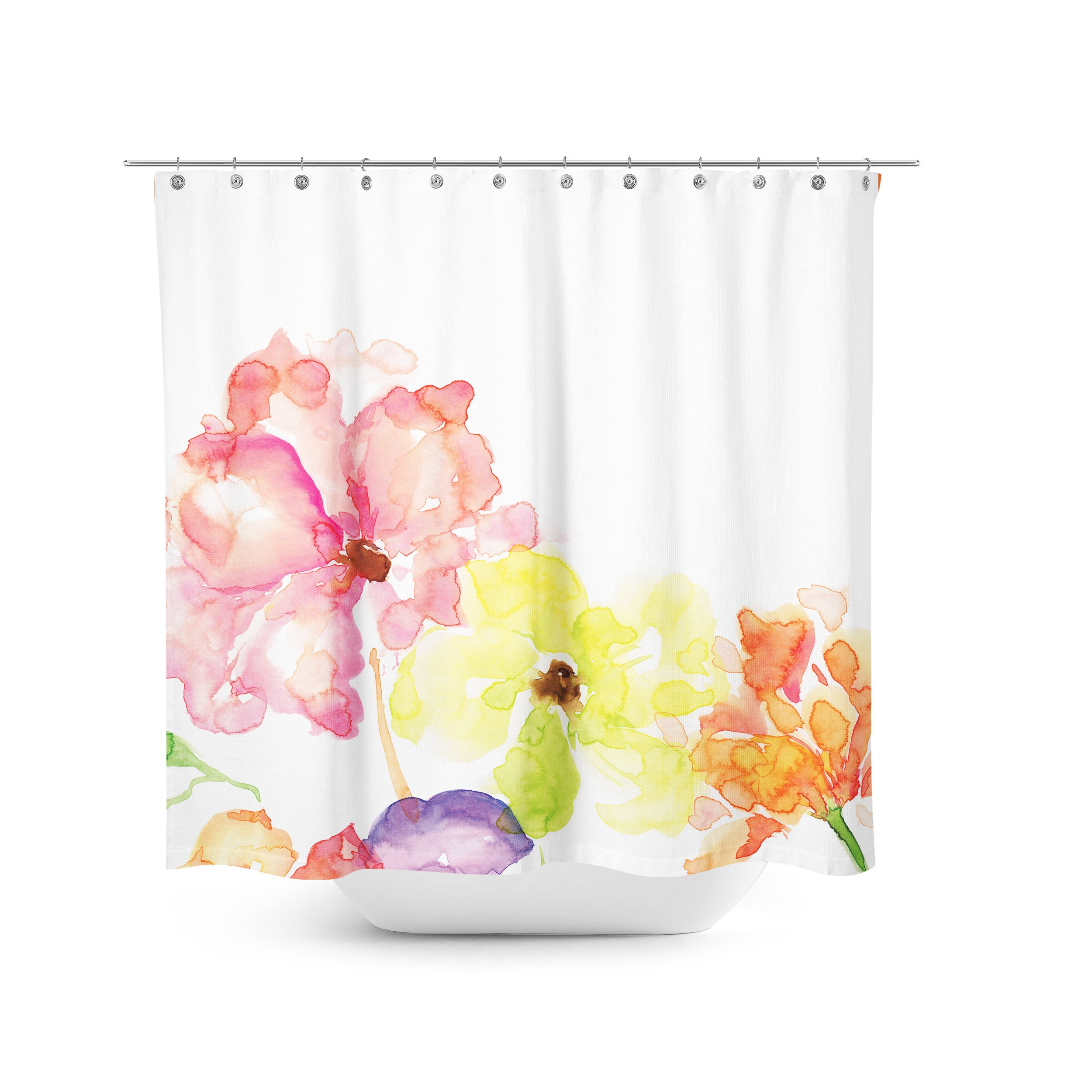 Aurora Home Hand Painted Flower Shower Curtain - Free Shipping ...