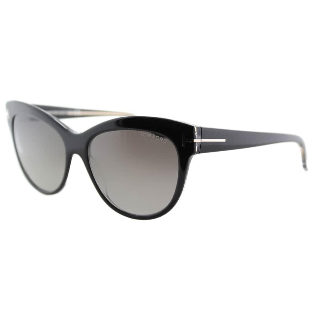 6e499c98a7d6 Shop Tom Ford Lily TF 430 05D Black Cat-Eye Plastic Sunglasses ...