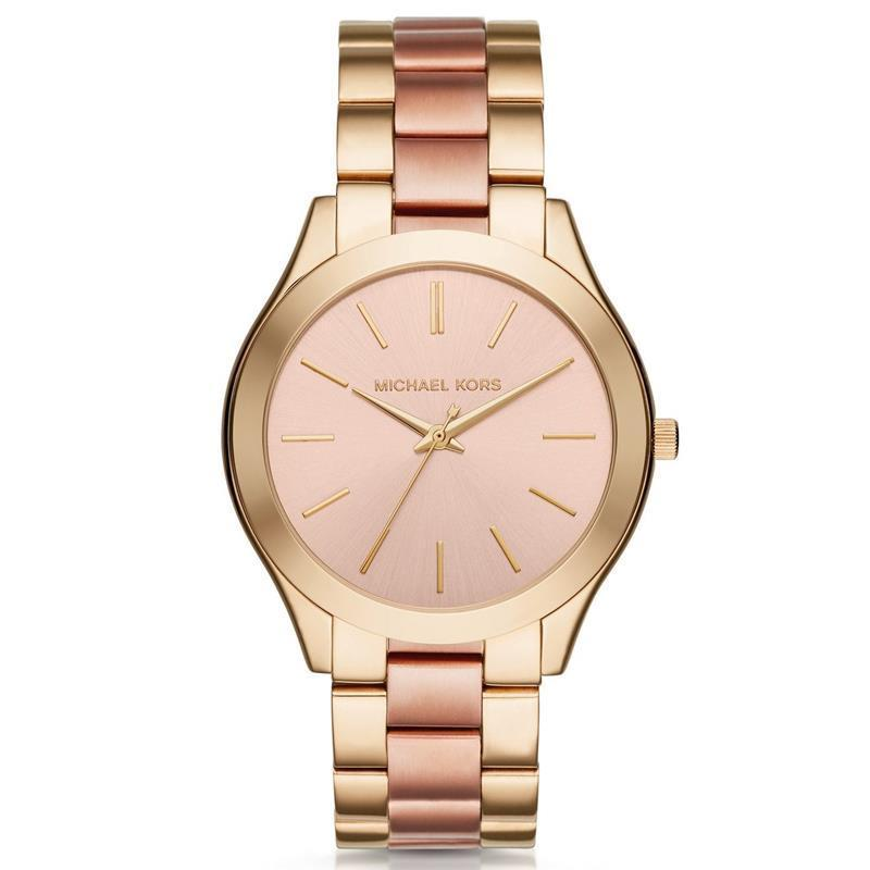7312552fc173 Michael Kors Women s MK3493 Slim Runway Rose-Tone Dial Two-Tone Stainless  Steel Bracelet Watch