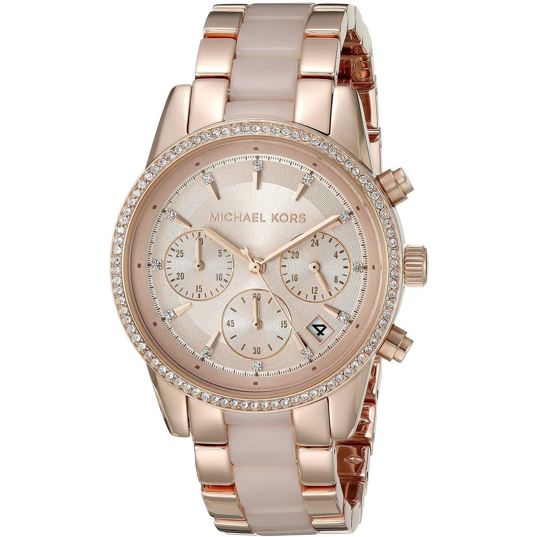 28ab025a13a8 Michael Kors Women s MK6307 Ritz Rose-Tone Gold Chronograph Dial Two-Tone  Bracelet Watch