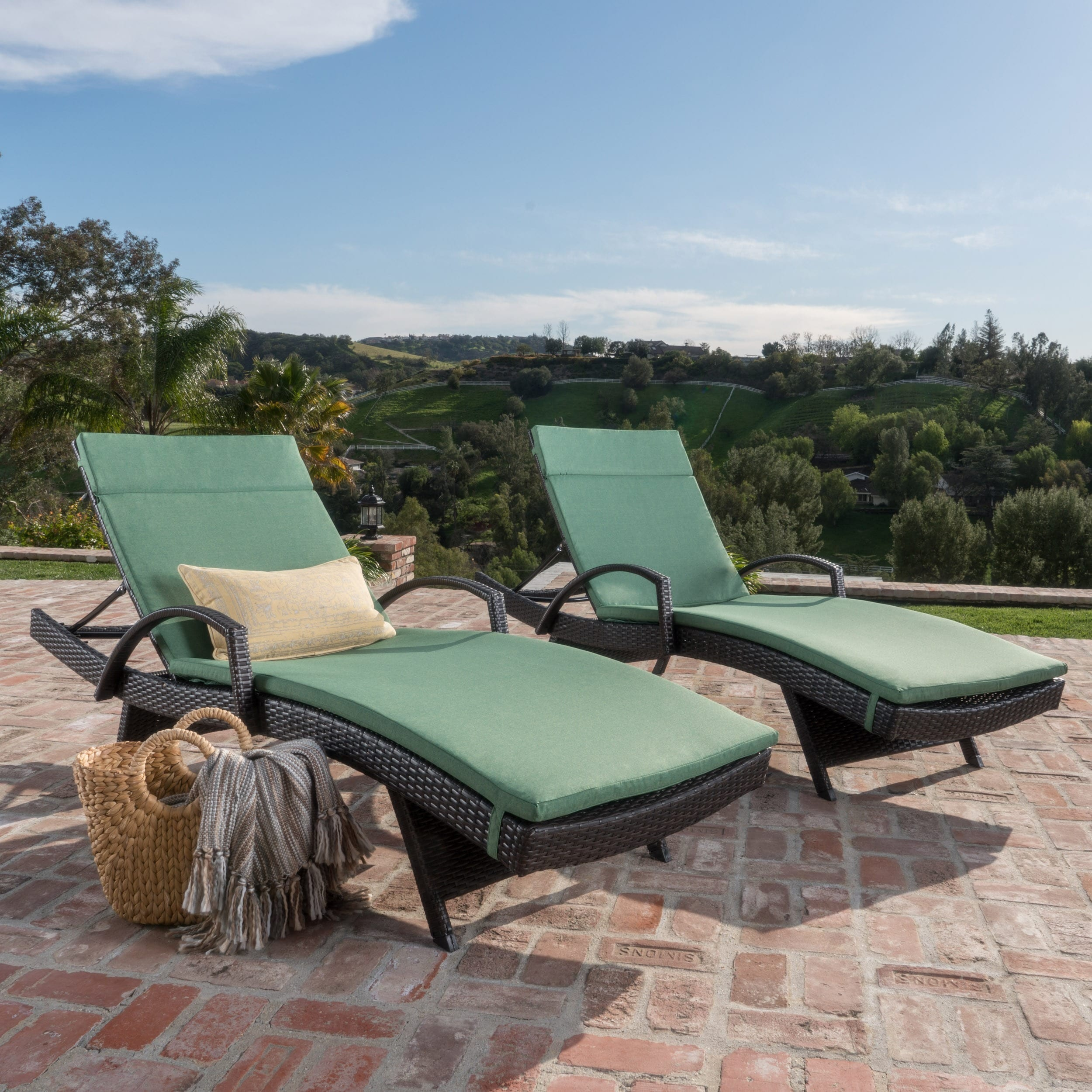 Superbe Shop Toscana Outdoor Wicker Armed Chaise Lounge Chair With Cushion By  Christopher Knight Home (Set Of 2)   Free Shipping Today   Overstock.com    21258248