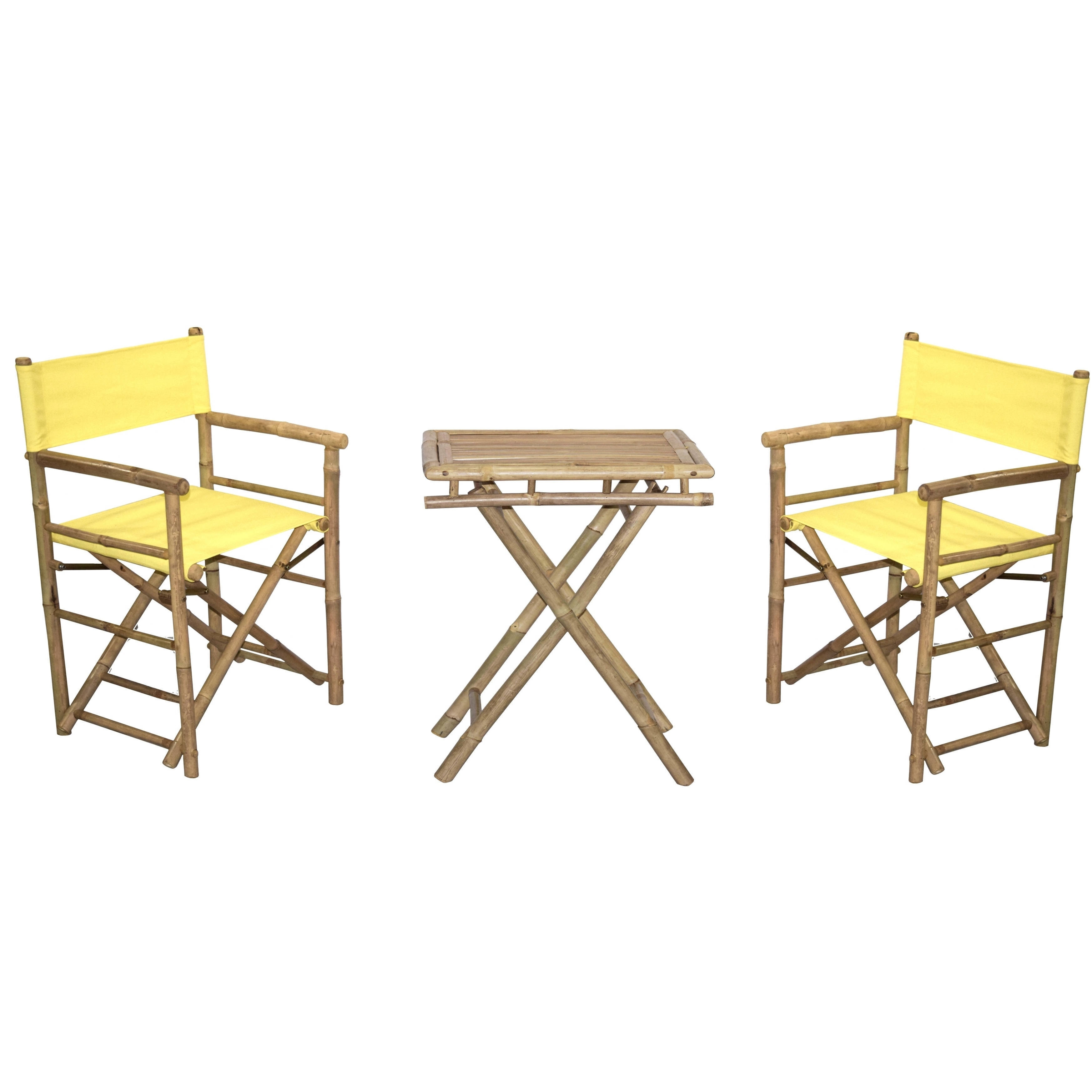 Shop Handmade Bamboo Bistro Director\'s Chairs and Small Table Set ...