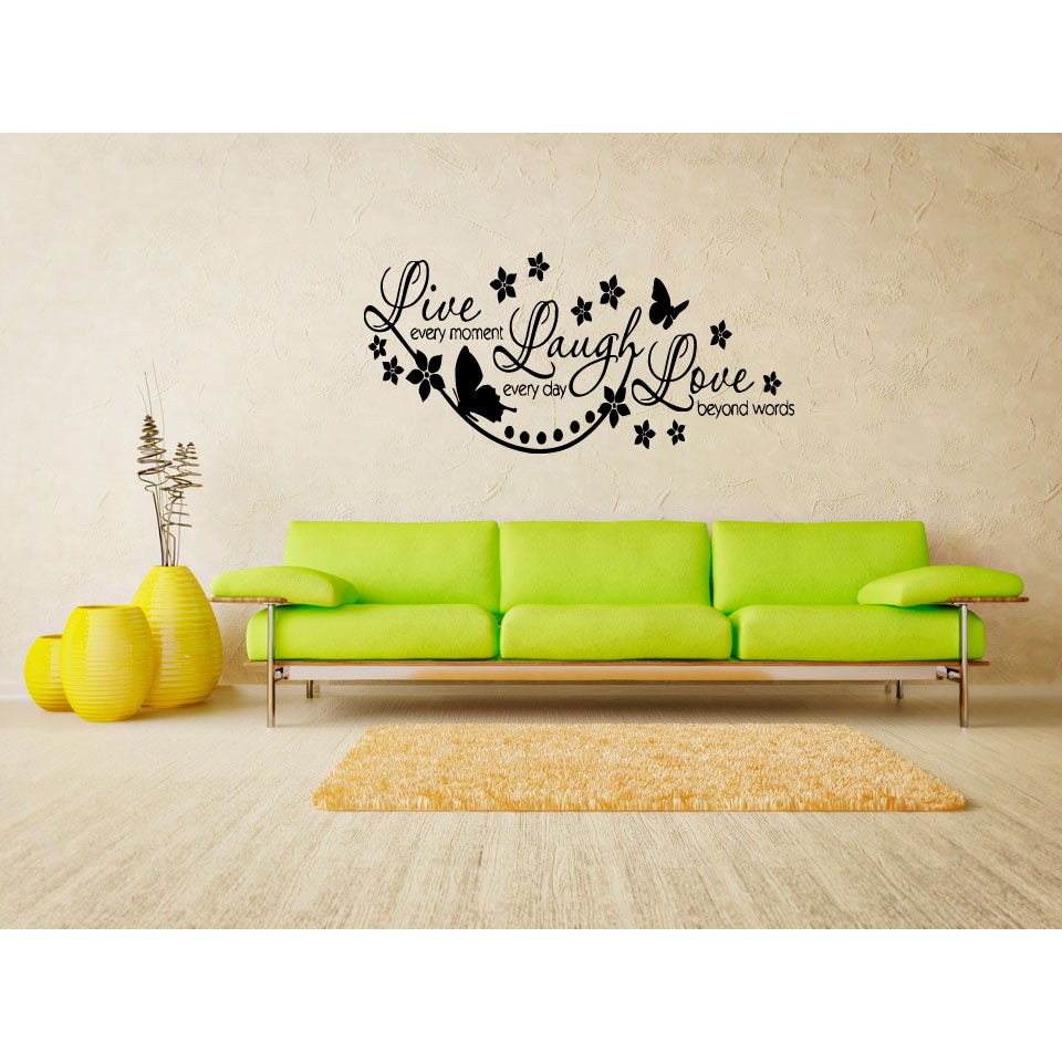 Live Every Moment Flowers and butterflies Wall Art Sticker Decal ...
