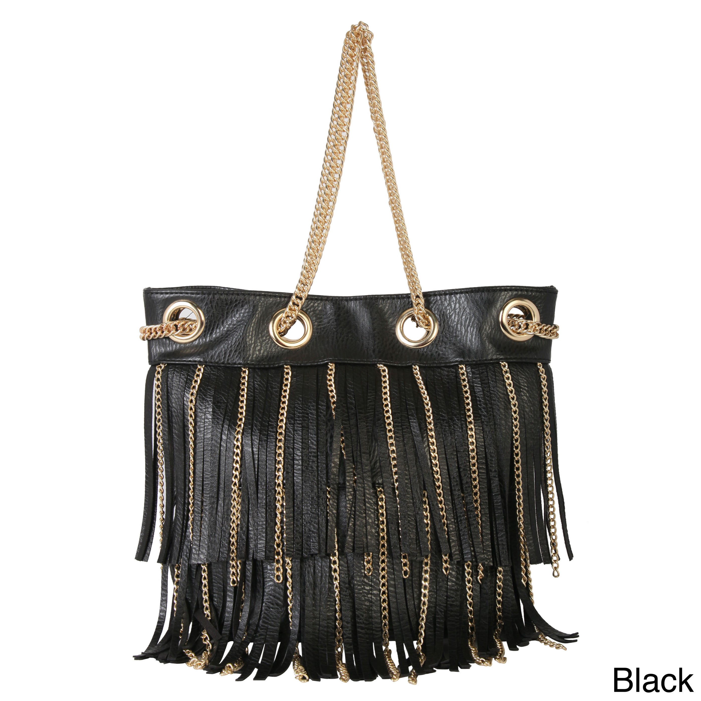 7d5f1460b8 Diophy Faux Leather Fringed Tote Accented with Goldtone Metal Chain Strap
