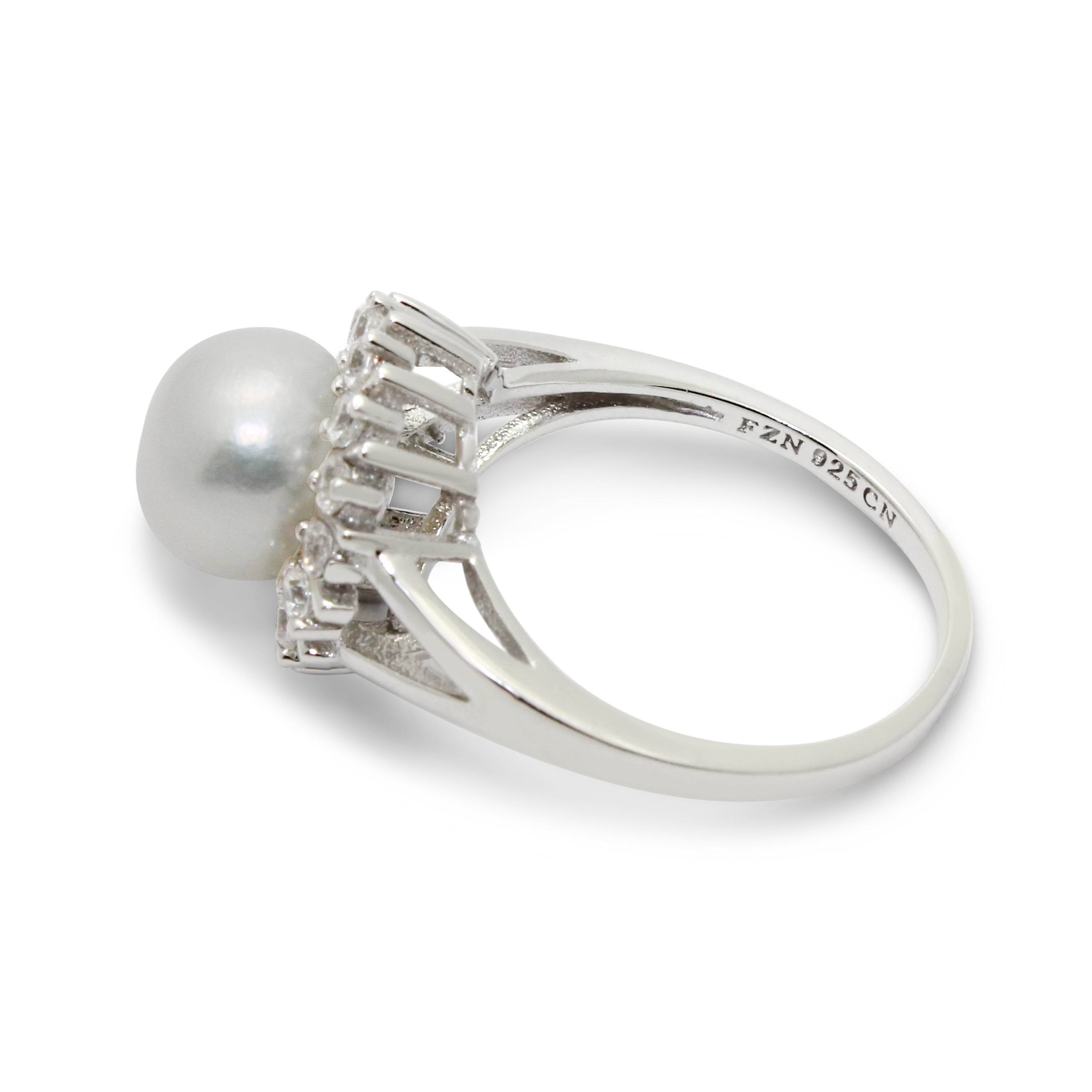 Gioelli Sterling Silver Round Cubic Zirconia and Pearl Ring