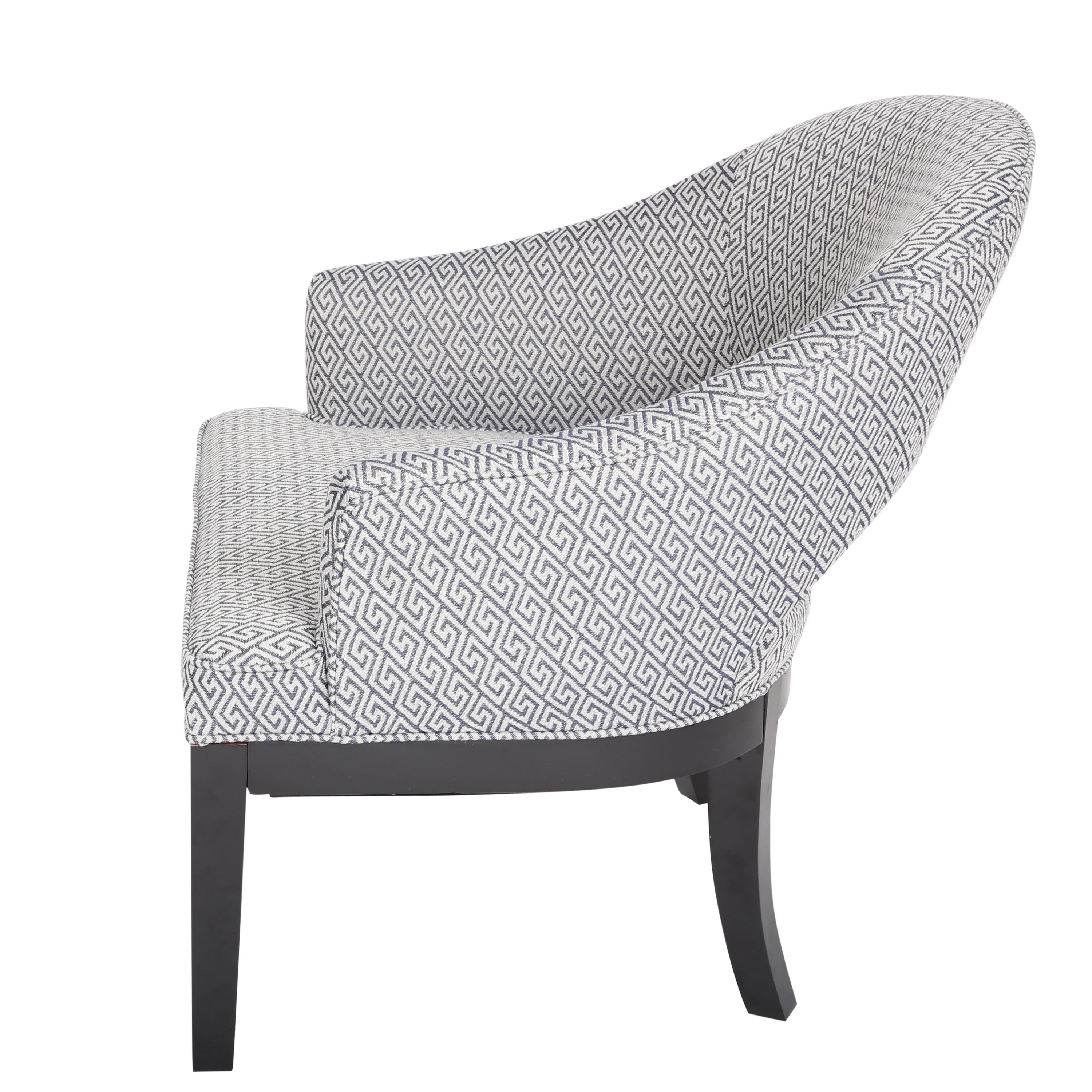 Porter Draper Navy Blue White Woven Greek Key Open Back Accent Chair Free Shipping Today 11526231