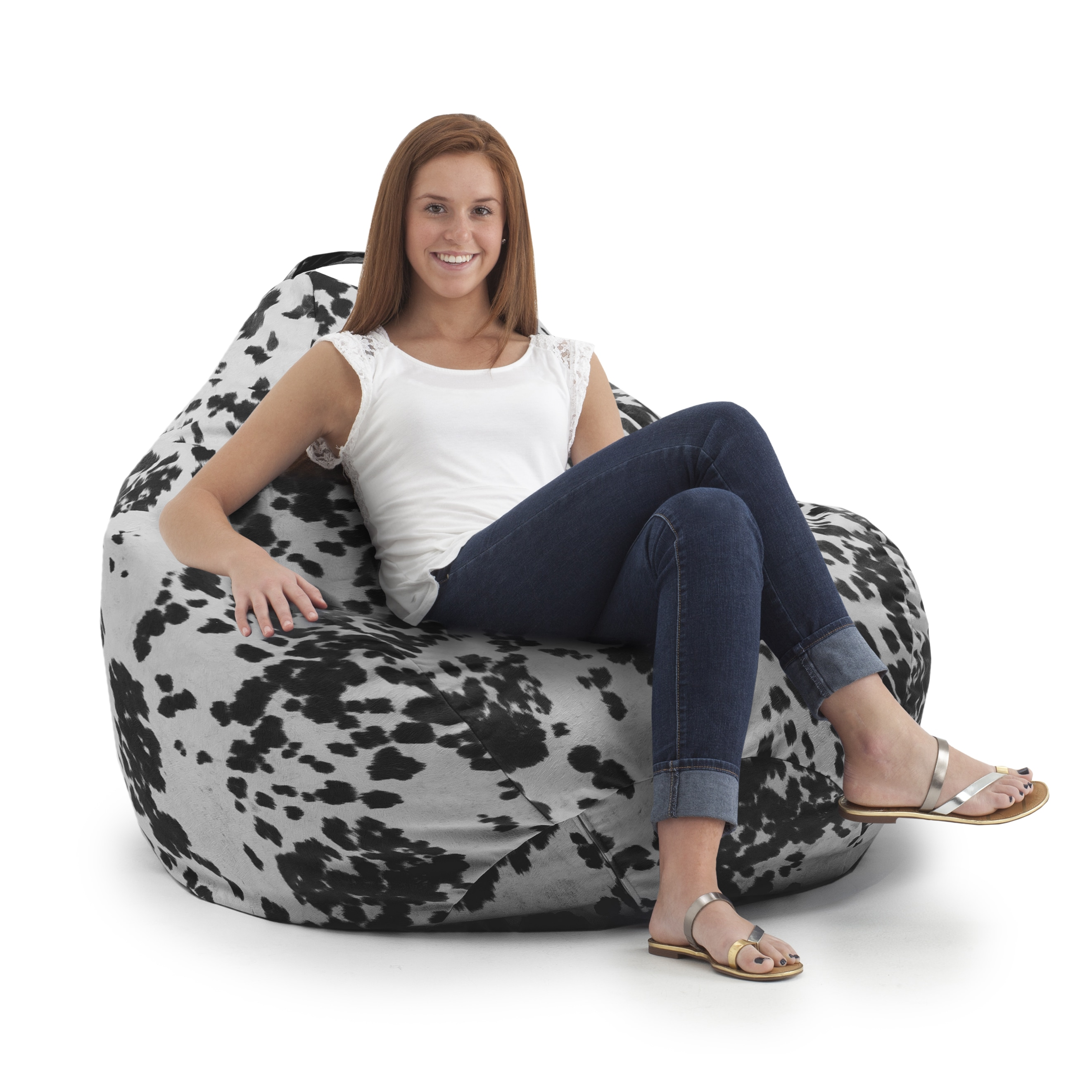 BeanSack Big Joe Cow Print Teardrop Bean Bag Chair