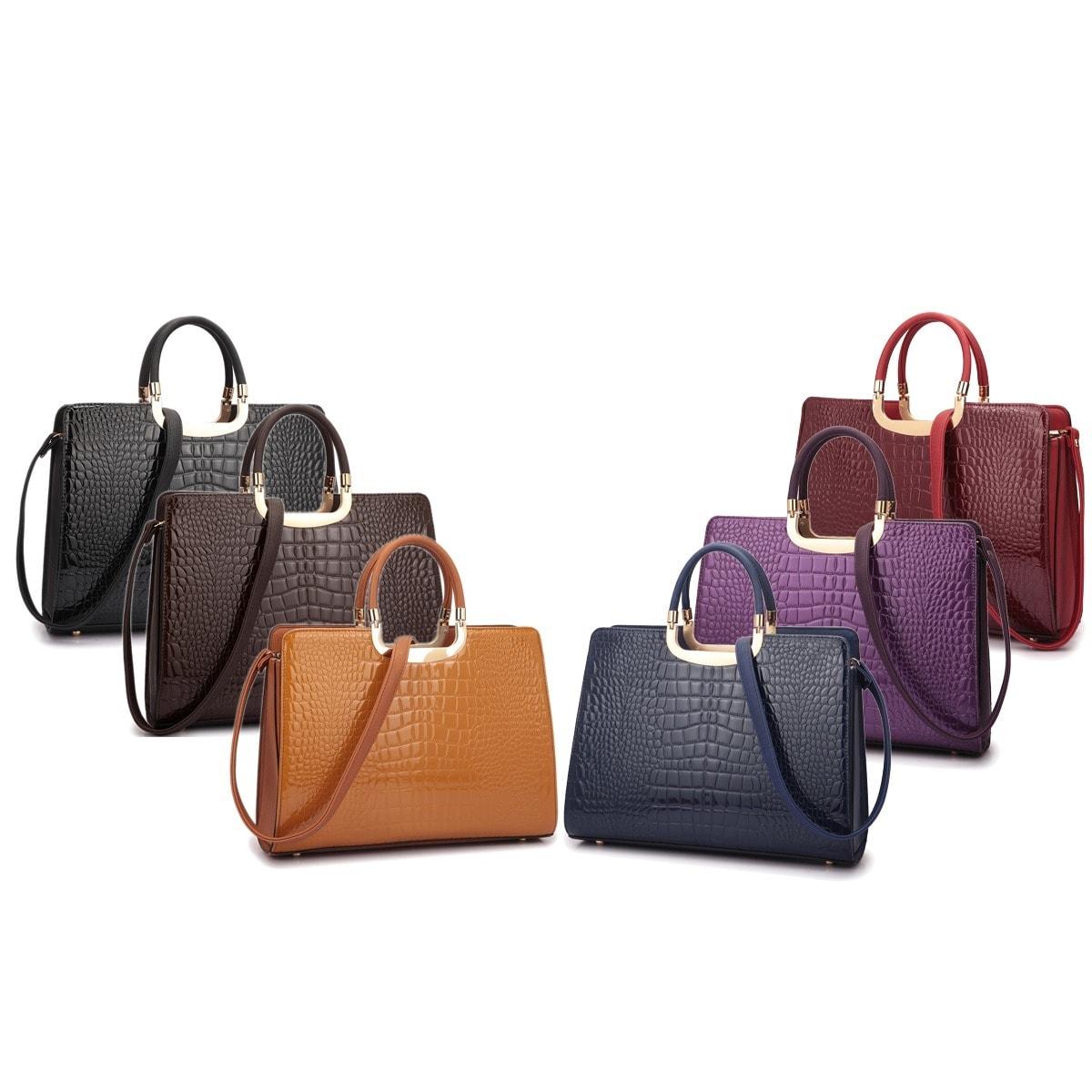 Dasein Patent Croco Satchel Briefcase Handbag With Bonus Shoulder Strap Free Shipping Today 18476363