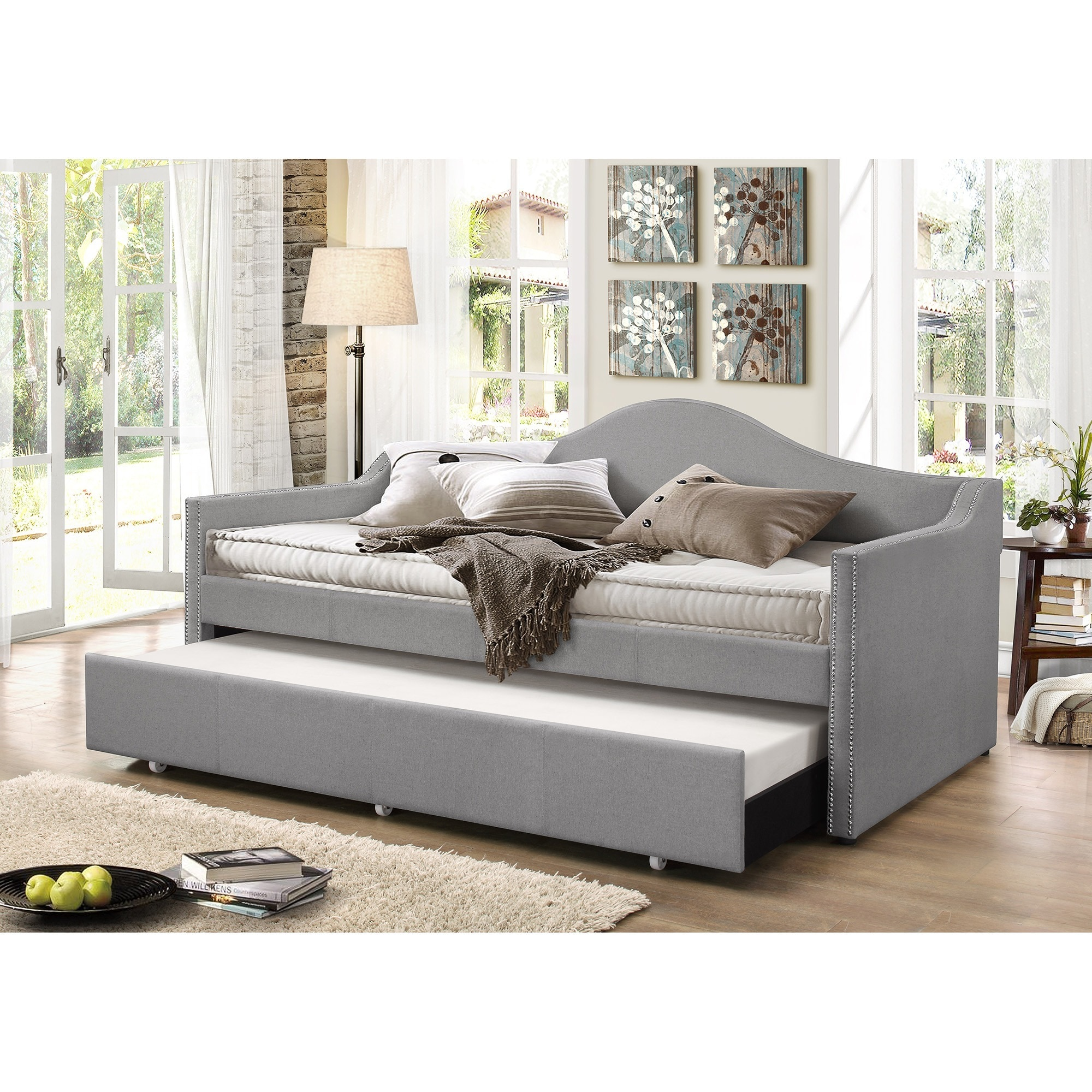 Baxton Studio Psykhe Modern Contemporary Beige Or Grey Fabric Upholstered Arch Back Sofa Daybed With Roll Out Trundle Guest Bed Free Shipping Today