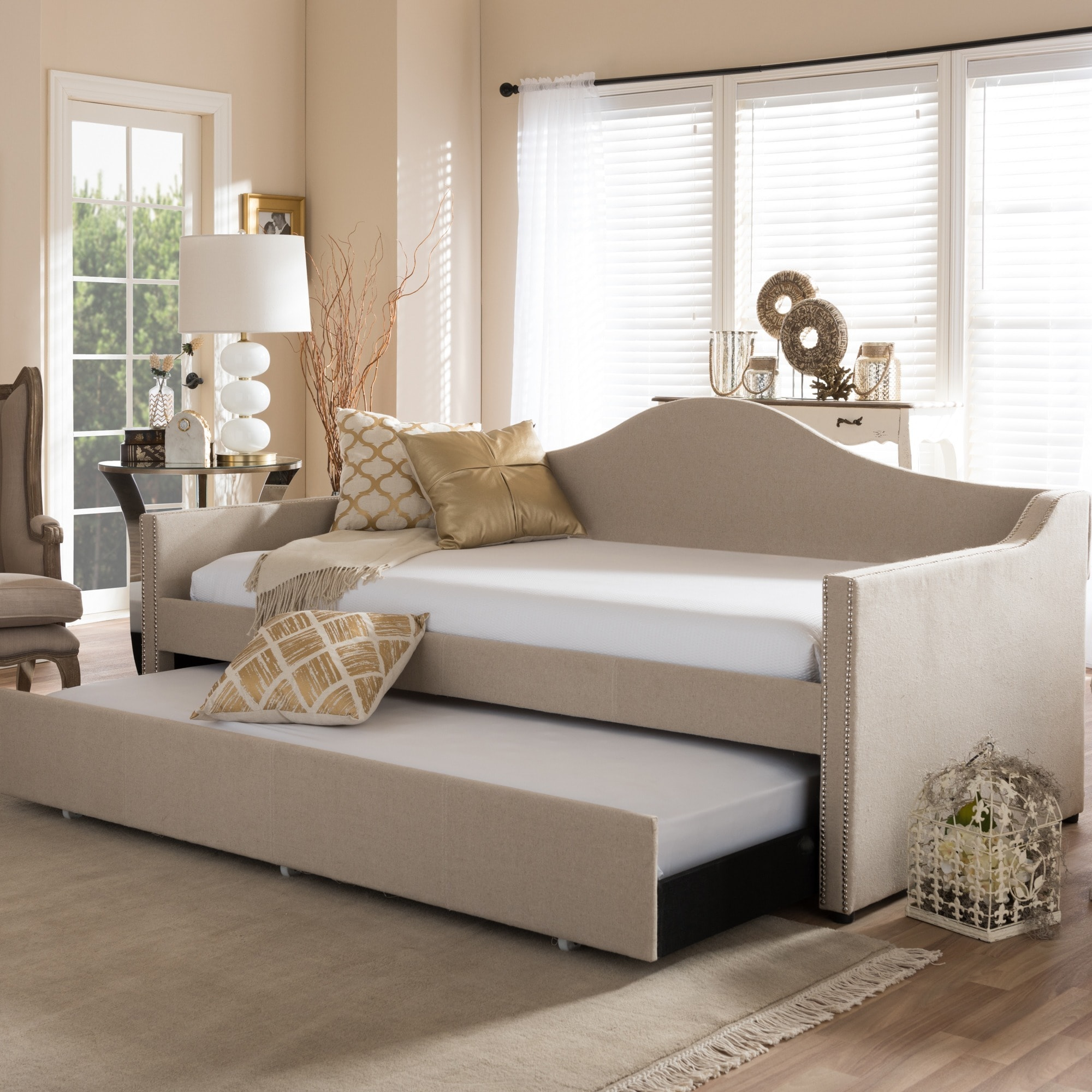 baxton studio psykhe modern contemporary beige or grey fabric upholsteredarch back sofa daybed with rollout trundle guest bed  free shipping today. baxton studio psykhe modern contemporary beige or grey fabric