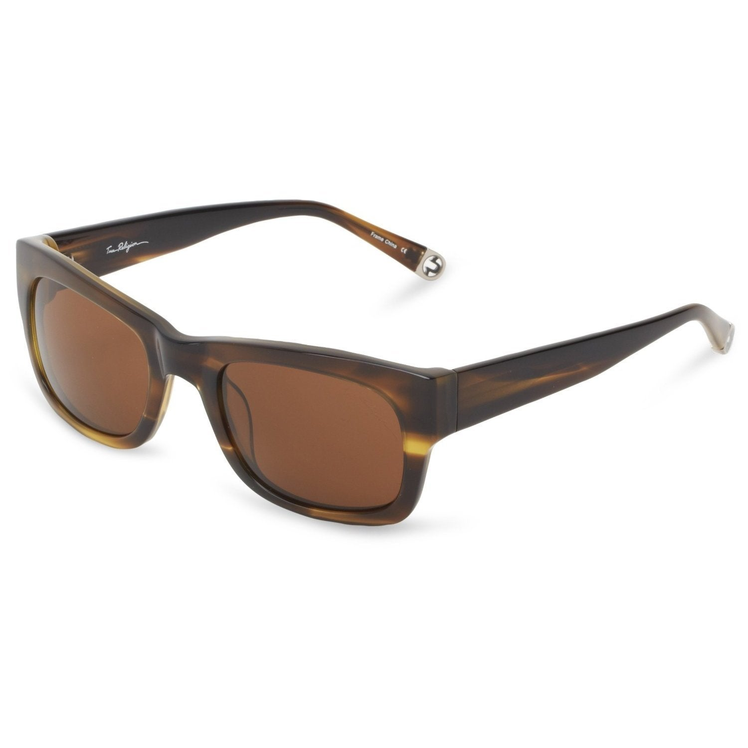 Shop True Religion Jordan Rectangular Olive and Havana Sunglasses ...