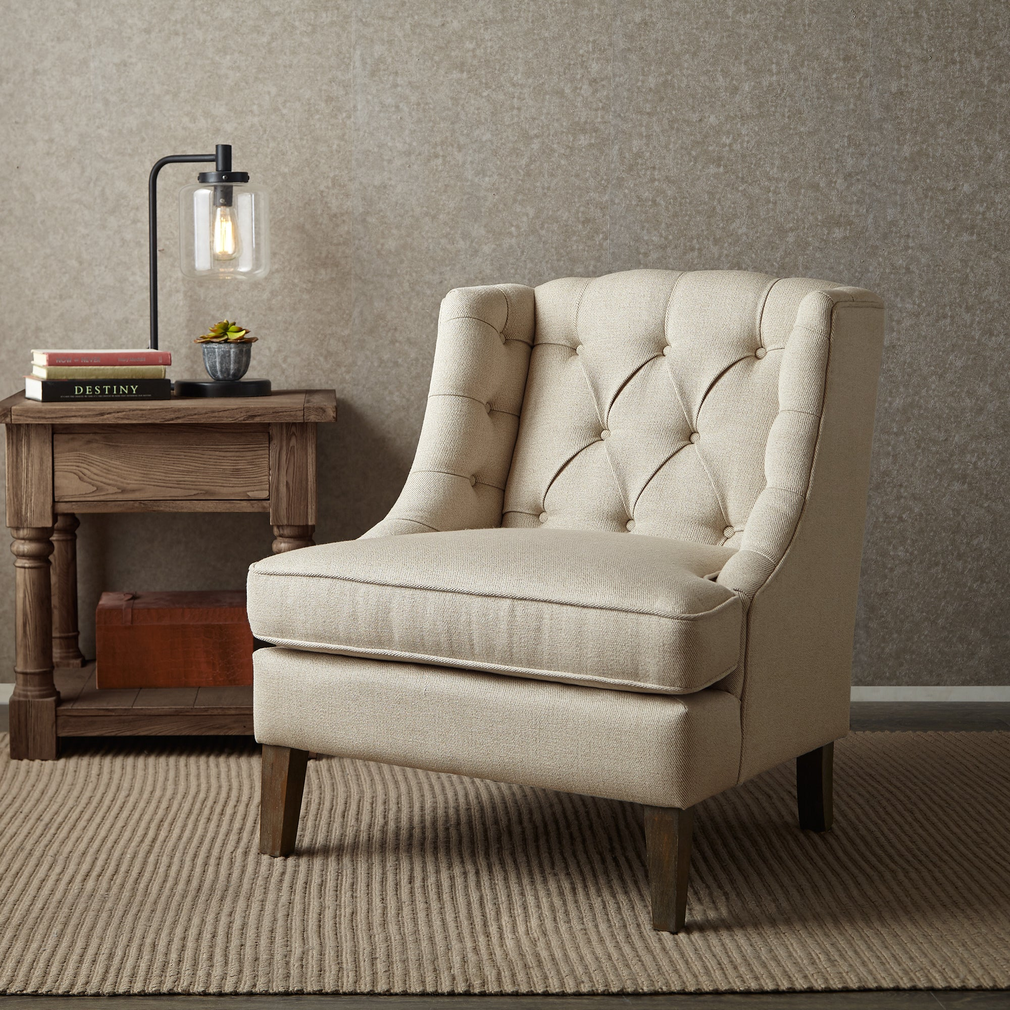 Shop madison park kelso button tufted accent chair free shipping today overstock com 11531199