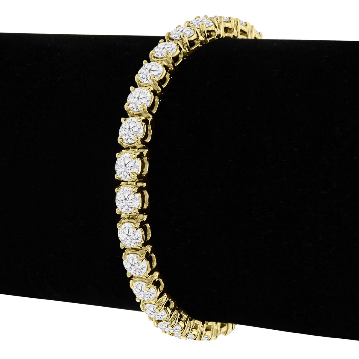 14k Yellow Gold 10 Carat Tdw Round Diamond Tennis Bracelet J K I2 I3 White On Free Shipping Today 11531429