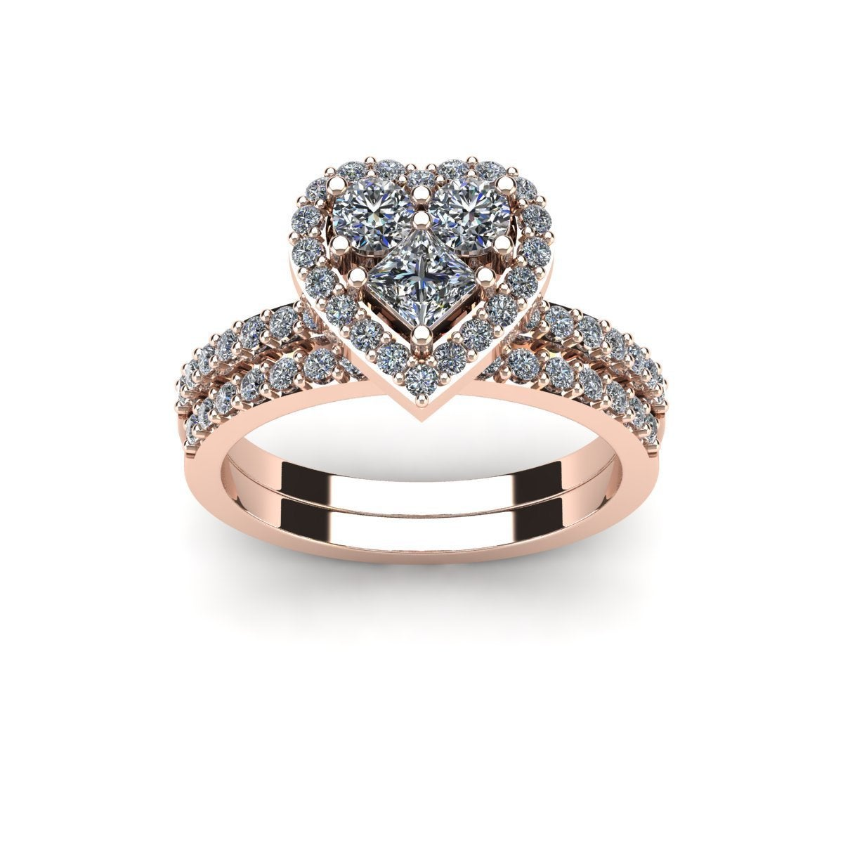 1 Carat Heart Shaped Bridal Engagement Ring Set In 14k Rose Gold White I J On Free Shipping Today 11531453