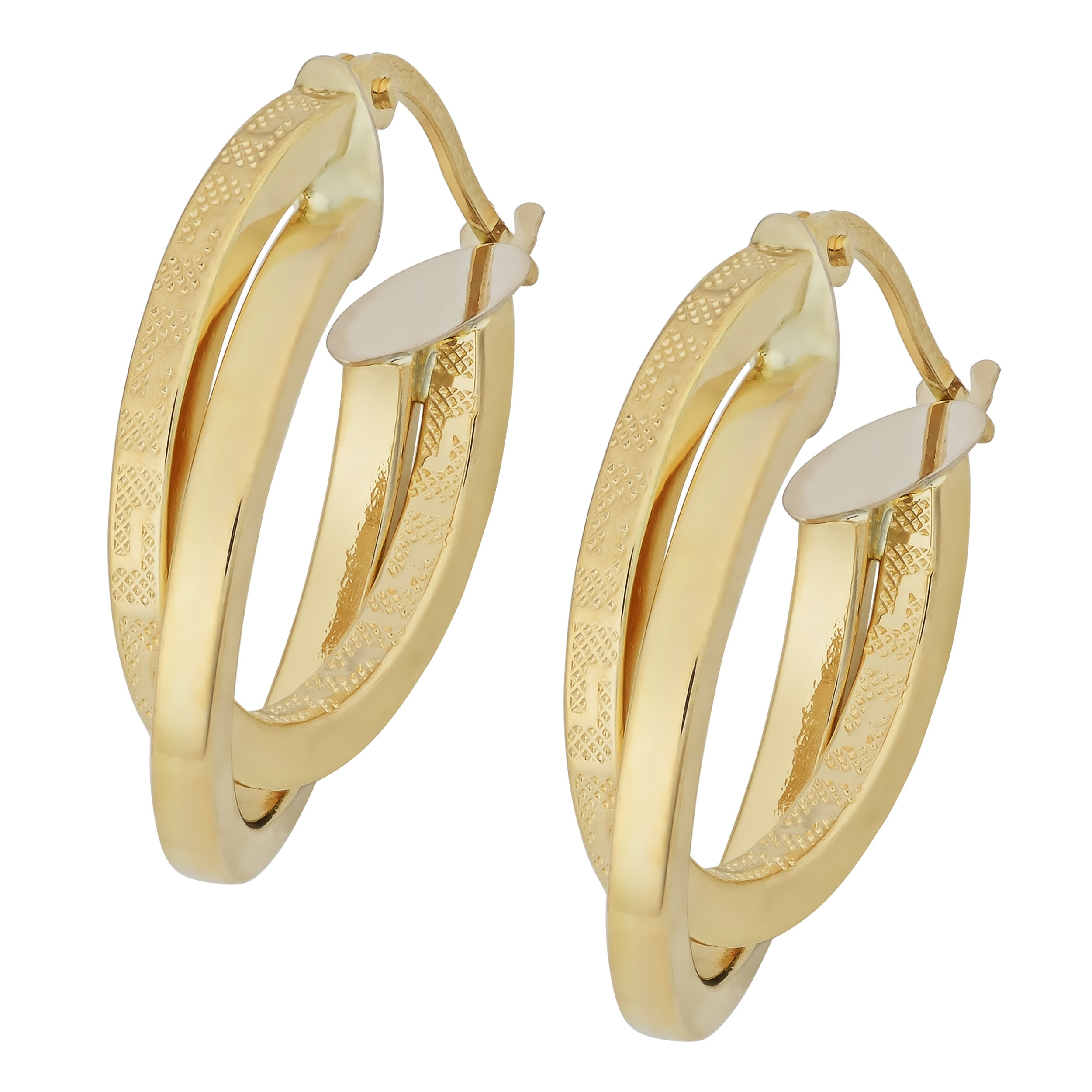 st gold ribbed shop jewelers italian hoop earrings state huggie