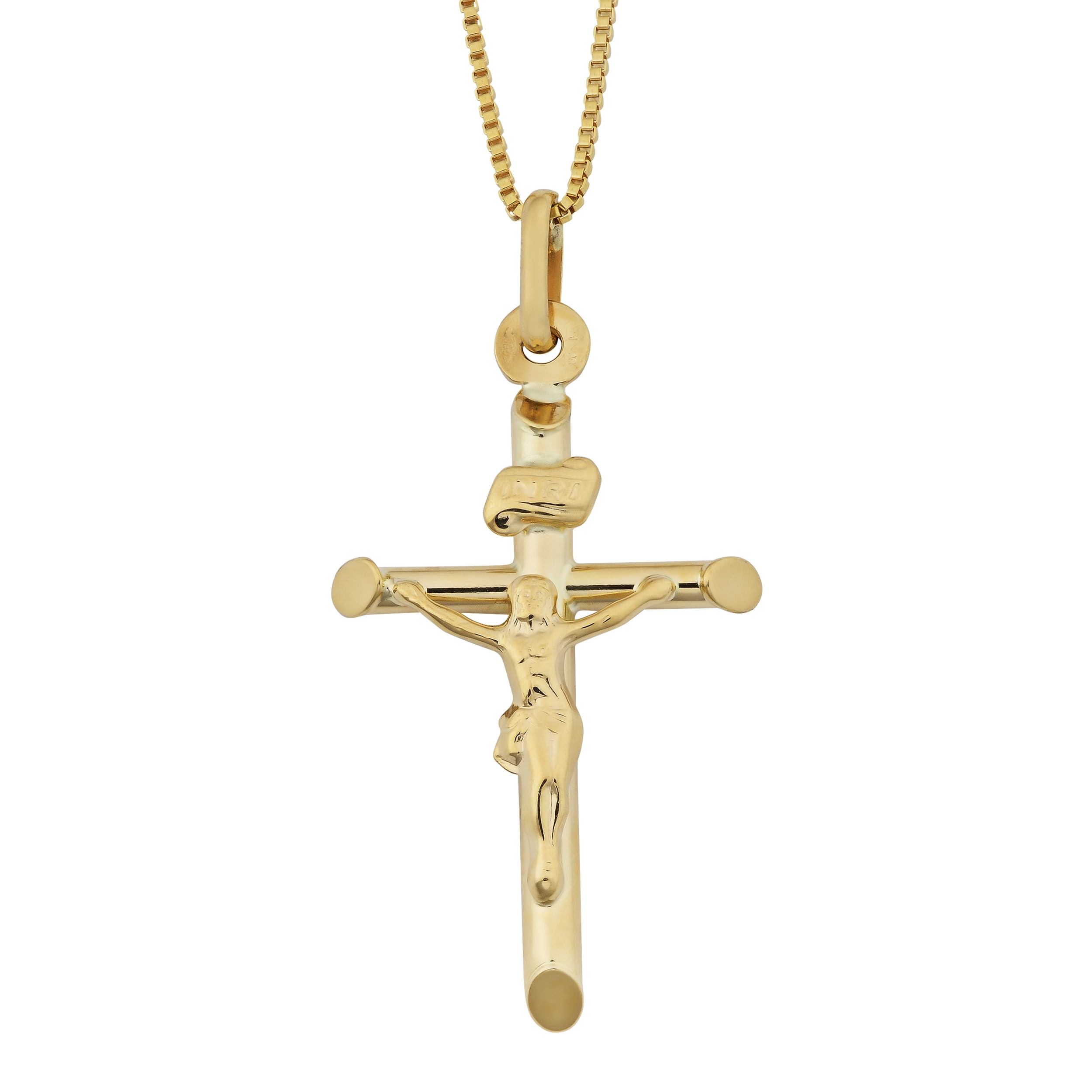 product pendant cross ornate solid crucifix gold long grams jesus yellow