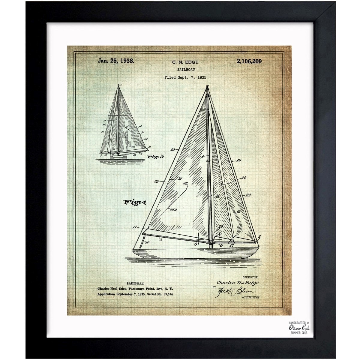 Shop oliver gal sailboat 1938 framed blueprint art on sale shop oliver gal sailboat 1938 framed blueprint art on sale free shipping today overstock 11533388 malvernweather Gallery
