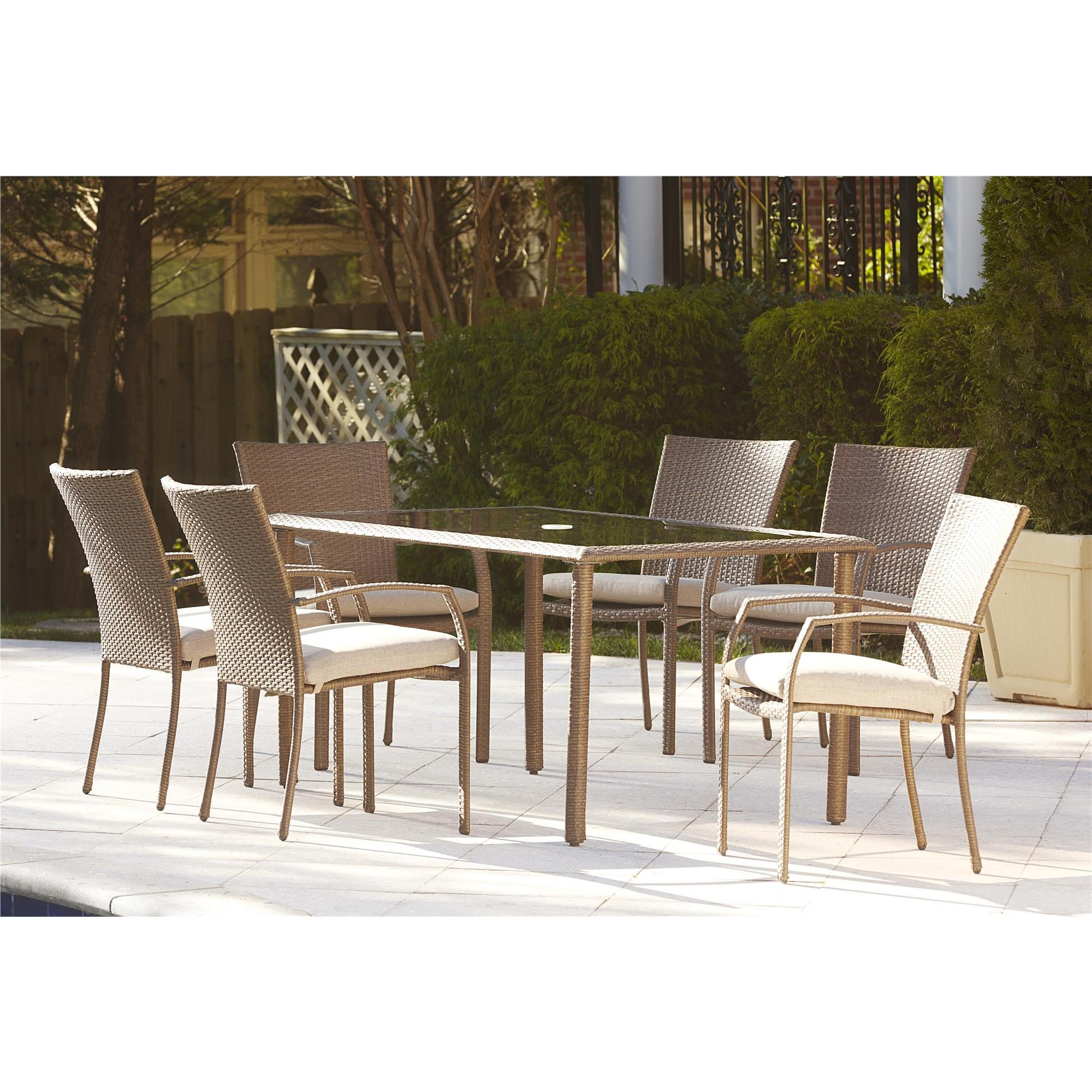 Cosco Outdoor 7 piece Steel Woven Wicker Patio Dining Set Free
