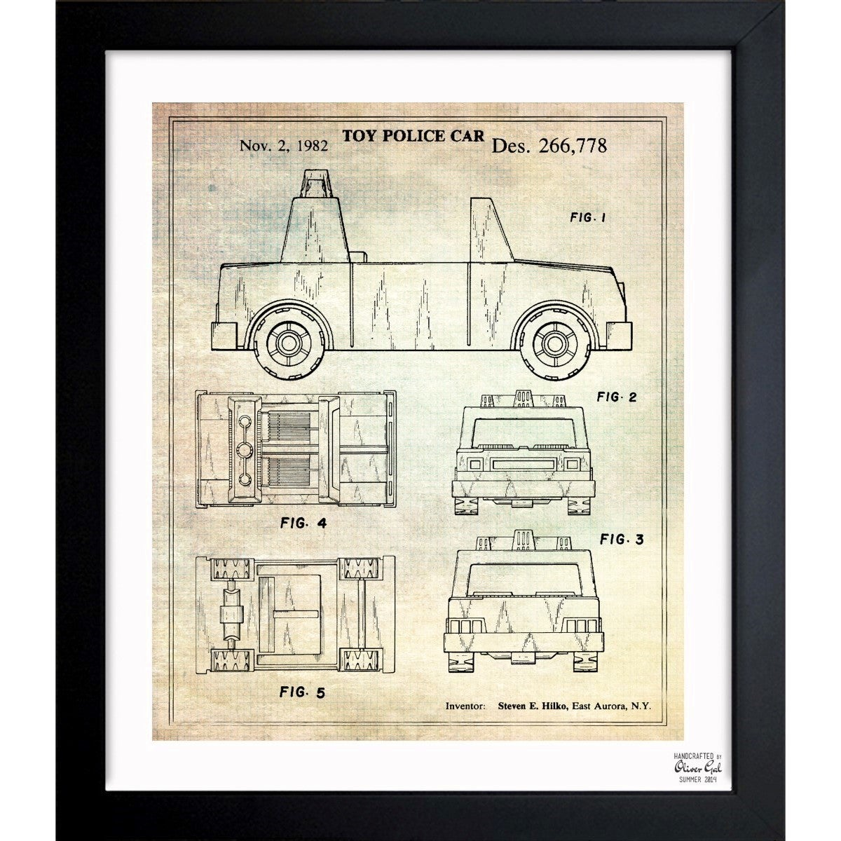 Shop oliver gal toy police car 1982 framed blueprint art free shop oliver gal toy police car 1982 framed blueprint art free shipping today overstock 11534026 malvernweather Images