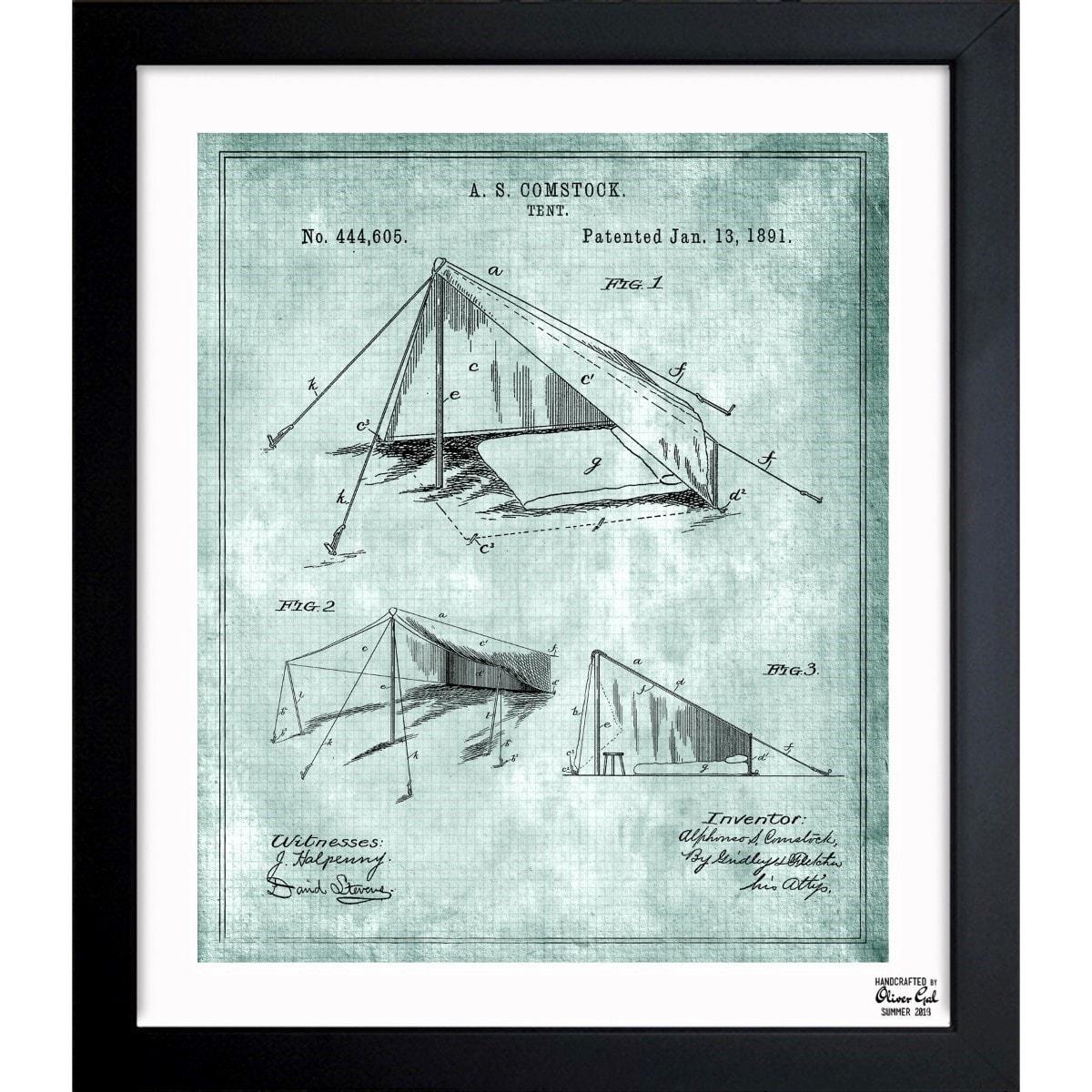 Shop Oliver Gal \'Tent 1891\' Framed Blueprint Art - Blue - On Sale ...