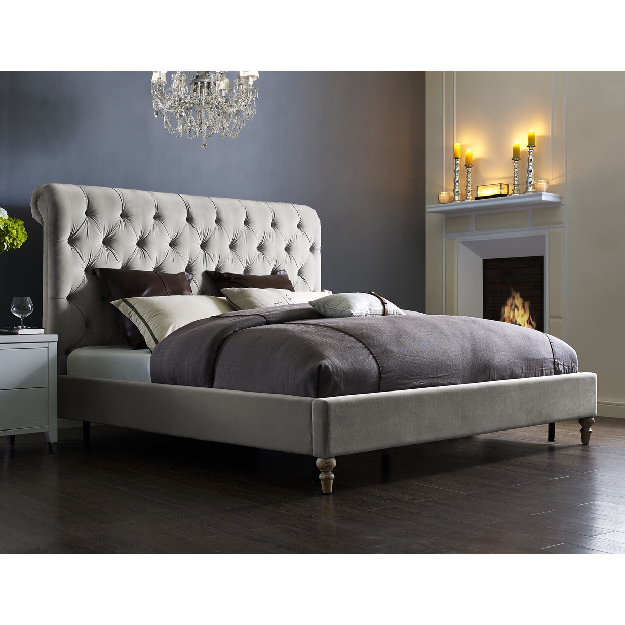 Superieur Shop Putnam Grey Velvet Bed Frame And Headboard   Free Shipping Today    Overstock.com   11534649