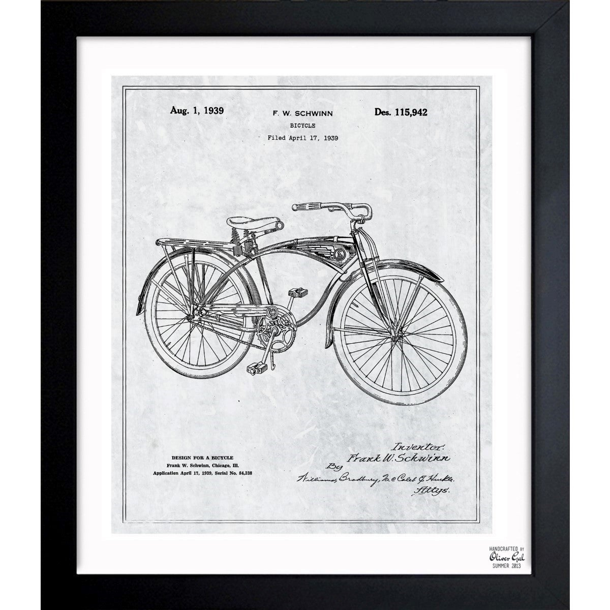 Shop oliver gal schwinn bicycle 1939 grey framed blueprint art shop oliver gal schwinn bicycle 1939 grey framed blueprint art on sale free shipping today overstock 11535016 malvernweather Image collections