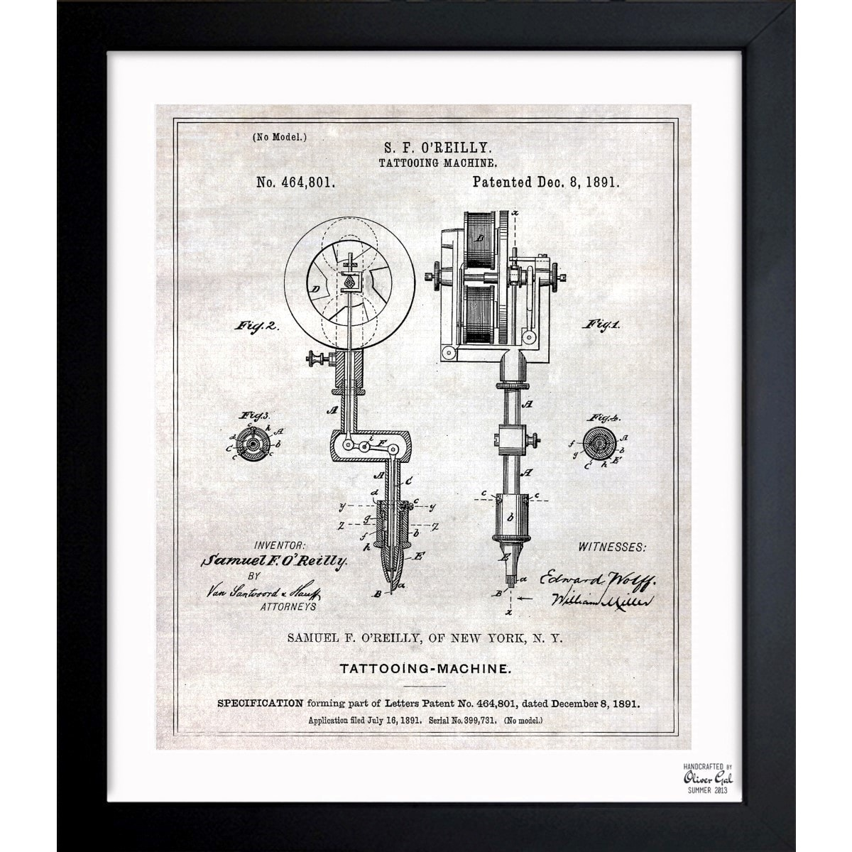 Shop Oliver Gal Tattoo Machine 1891 Framed Blueprint Art On Sale Tattoomachinediagramjpg Ships To Canada 11536189