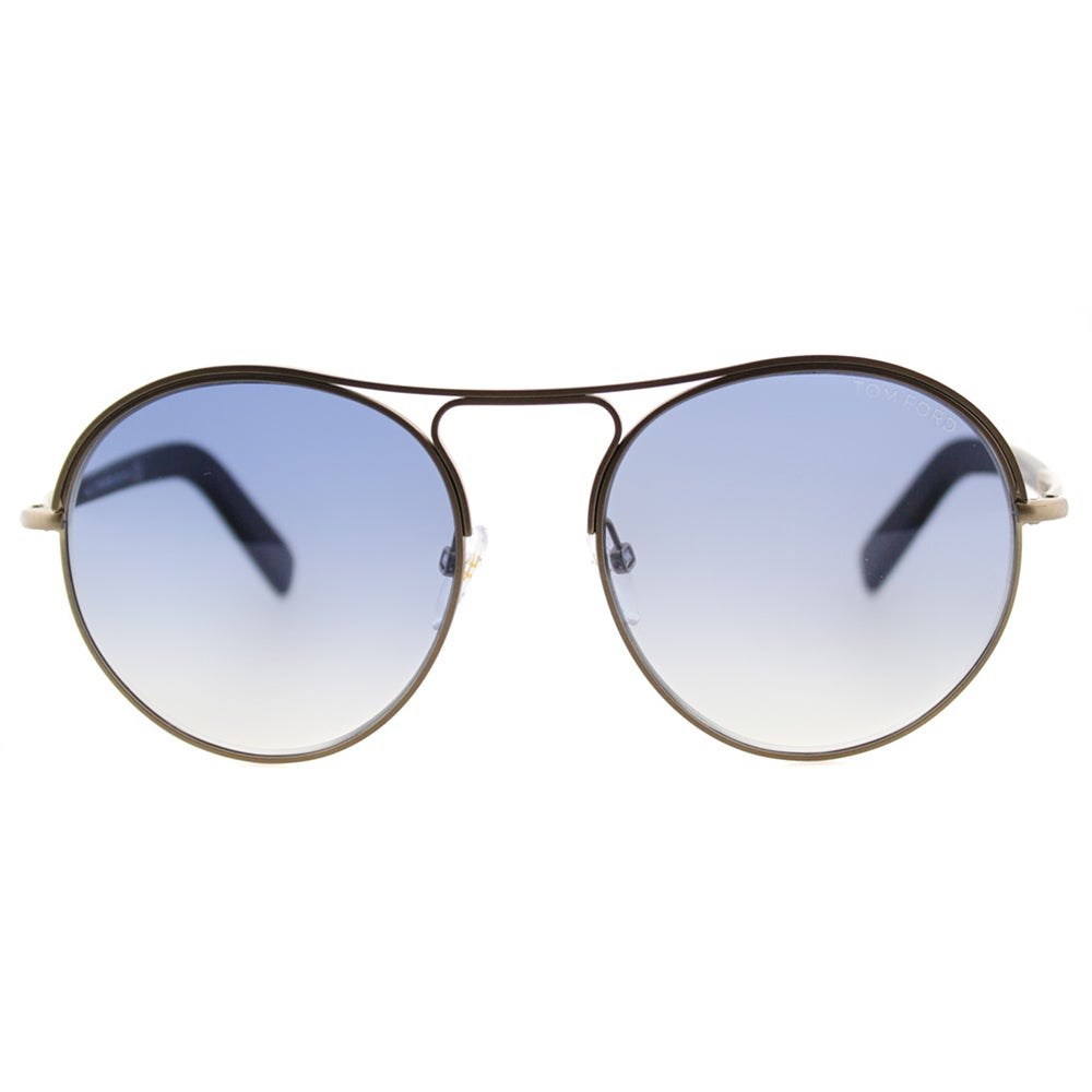 e2c32a4bf5cb Shop Tom Ford Jessie TF 449 37W Antiqued Gold Round Metal Sunglasses - Free  Shipping Today - Overstock.com - 11540308