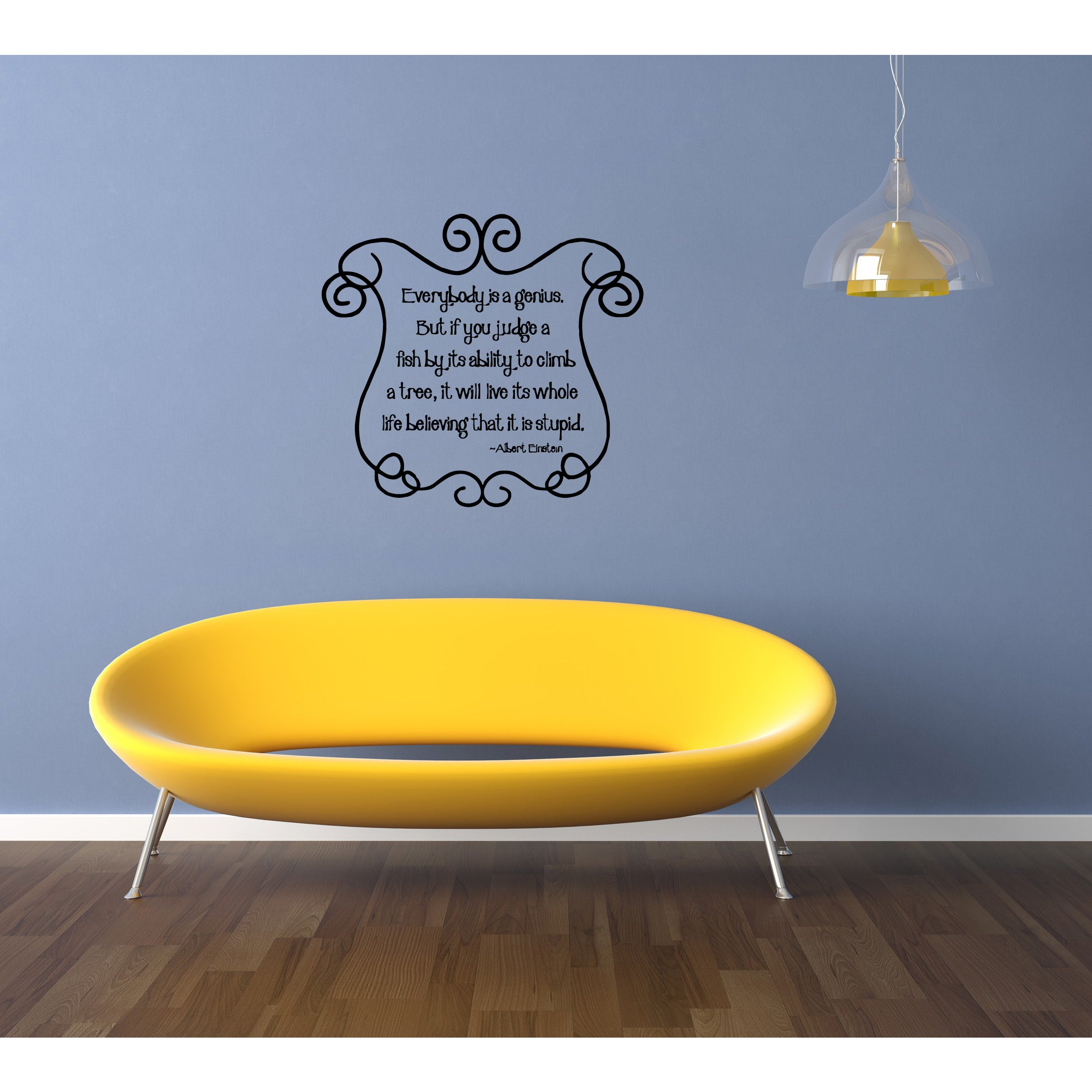 Shop Everybody is a Genius quote Wall Art Sticker Decal - Free ...