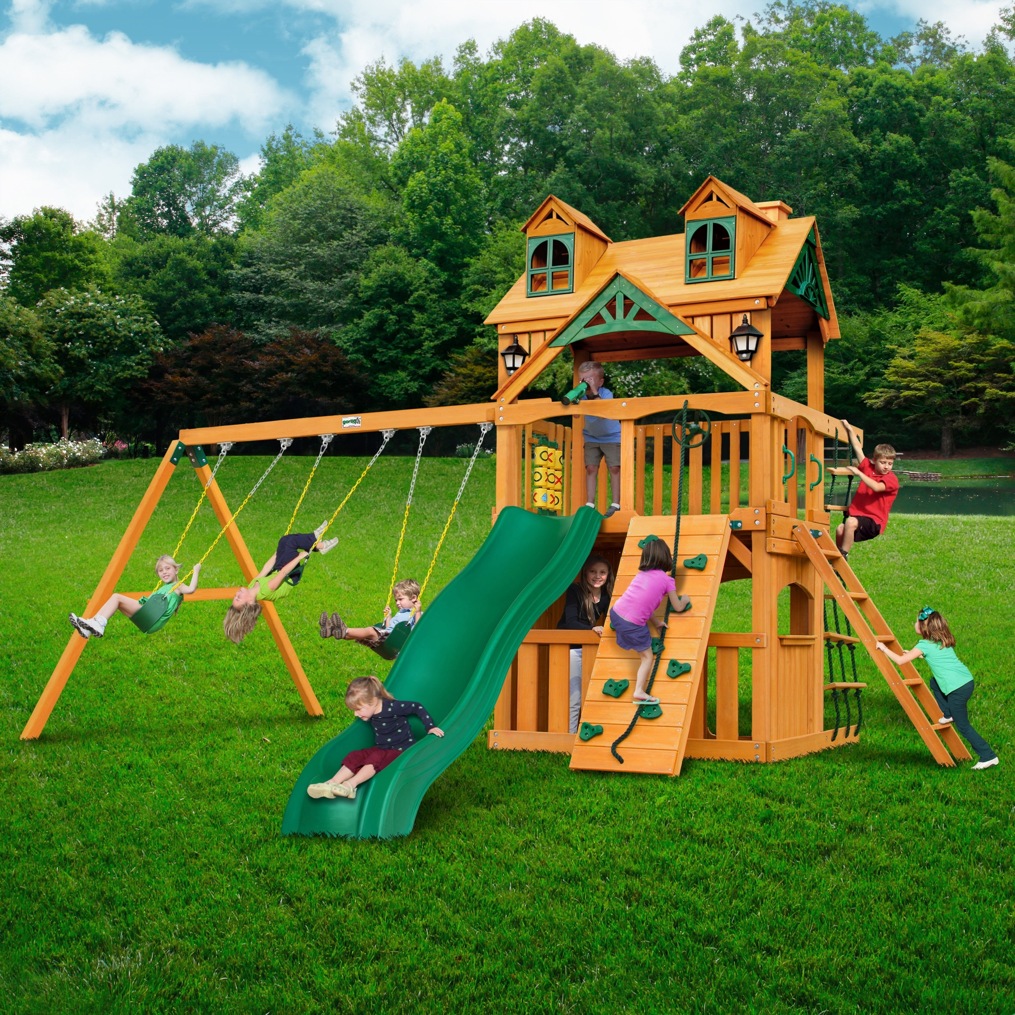 Shop Gorilla Playsets Mountaineer Clubhouse Cedar Swing Set With
