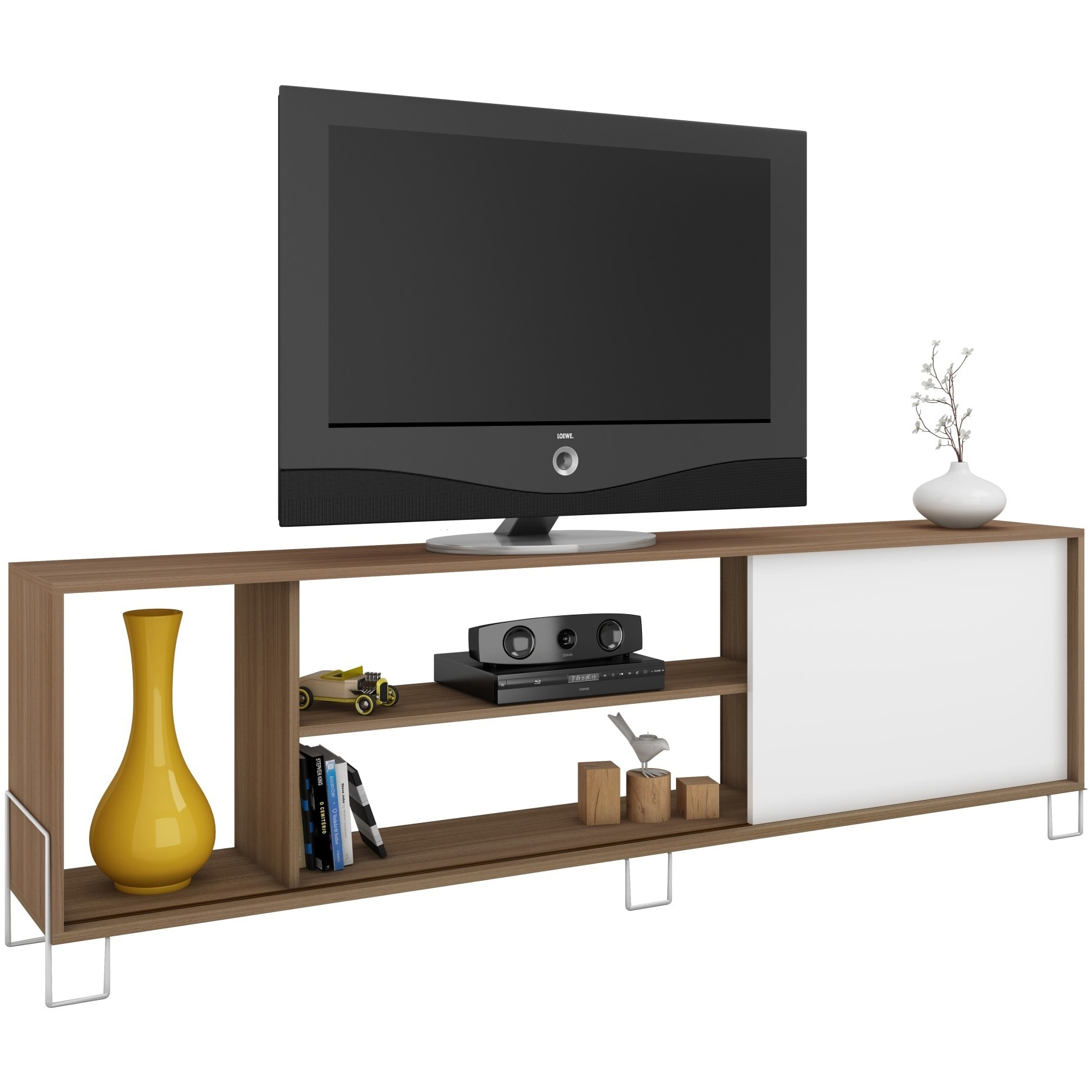 Shop Accentuations By Manhattan Comfort Nacka 4 Shelf Tv Stand With