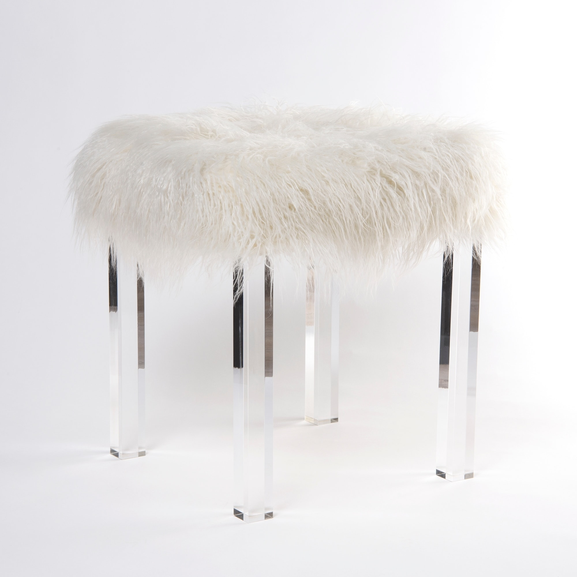 Very best Aurora Home Acrylic Stool with Removable Mongolian Lamb Faux Fur  CZ84