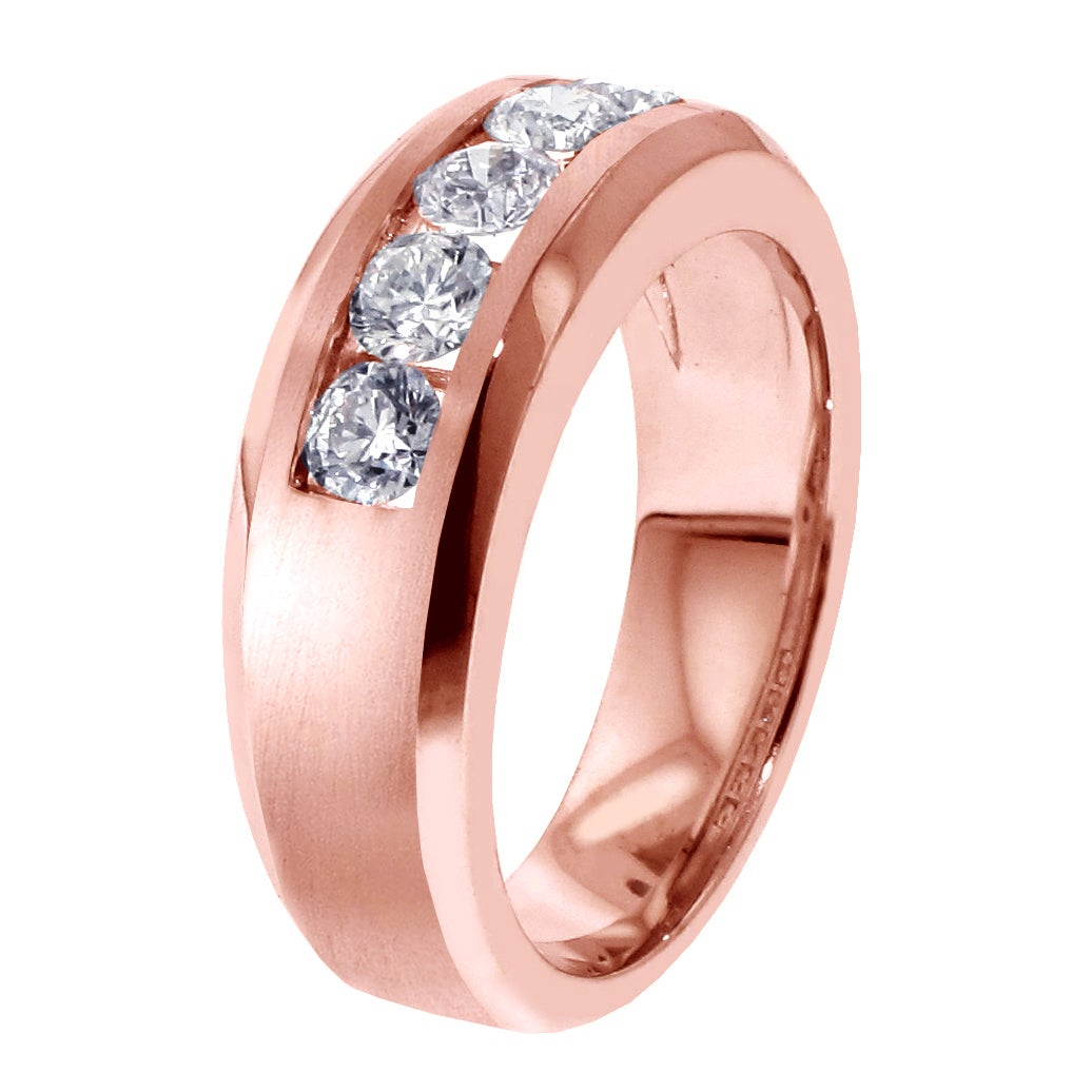 Shop 14k Rose Gold Men\'s 1ct TDW 5-stone Channel-set Diamond Wedding ...