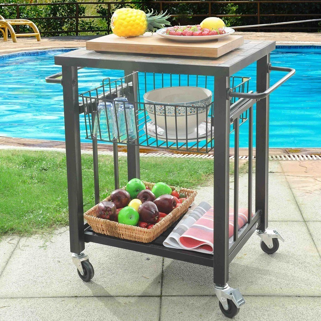 Sunjoy Hansel Serving Cart Steel with Included Bamboo Cutting Board ...
