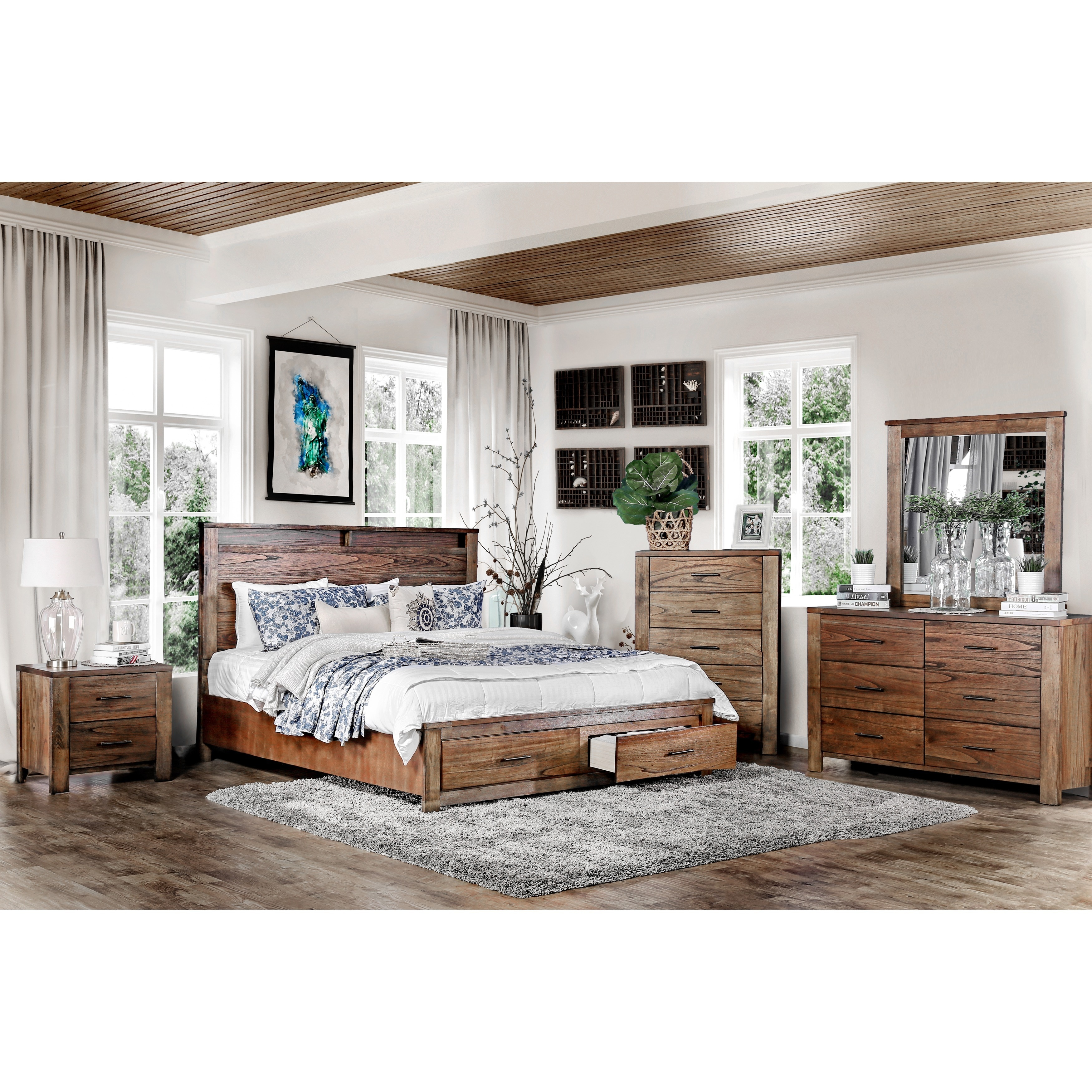 Shop Furniture Of America Casso Rustic Oak Storage Platform Bed